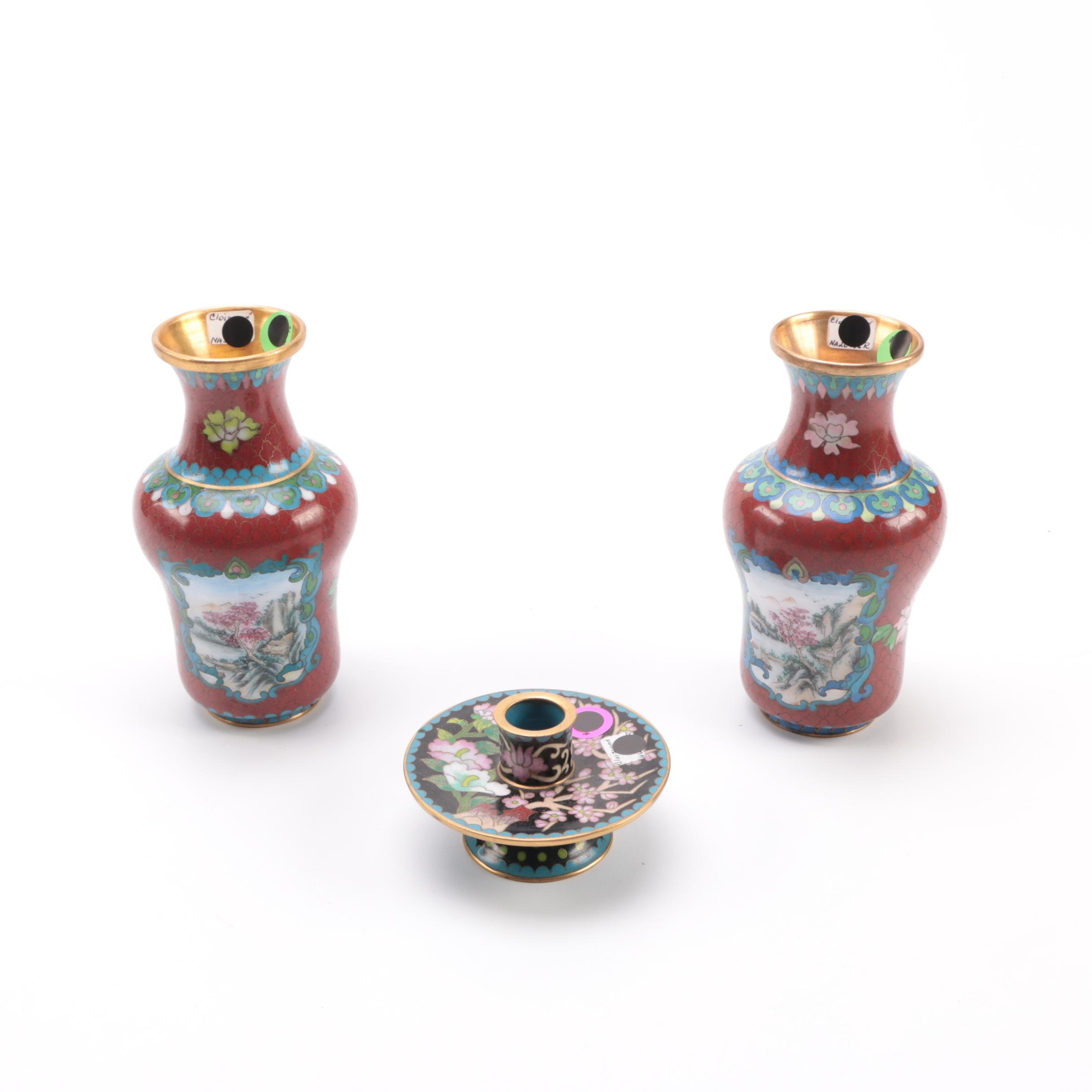 Cloisonné Vases and Candle Holder