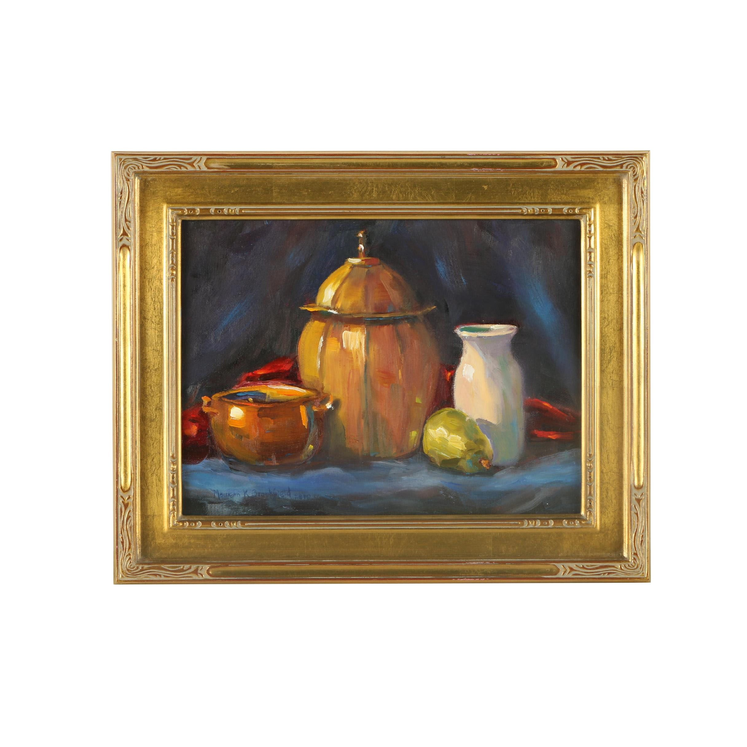 Maureen Brookfield Oil Painting on Canvas Board of Still Life