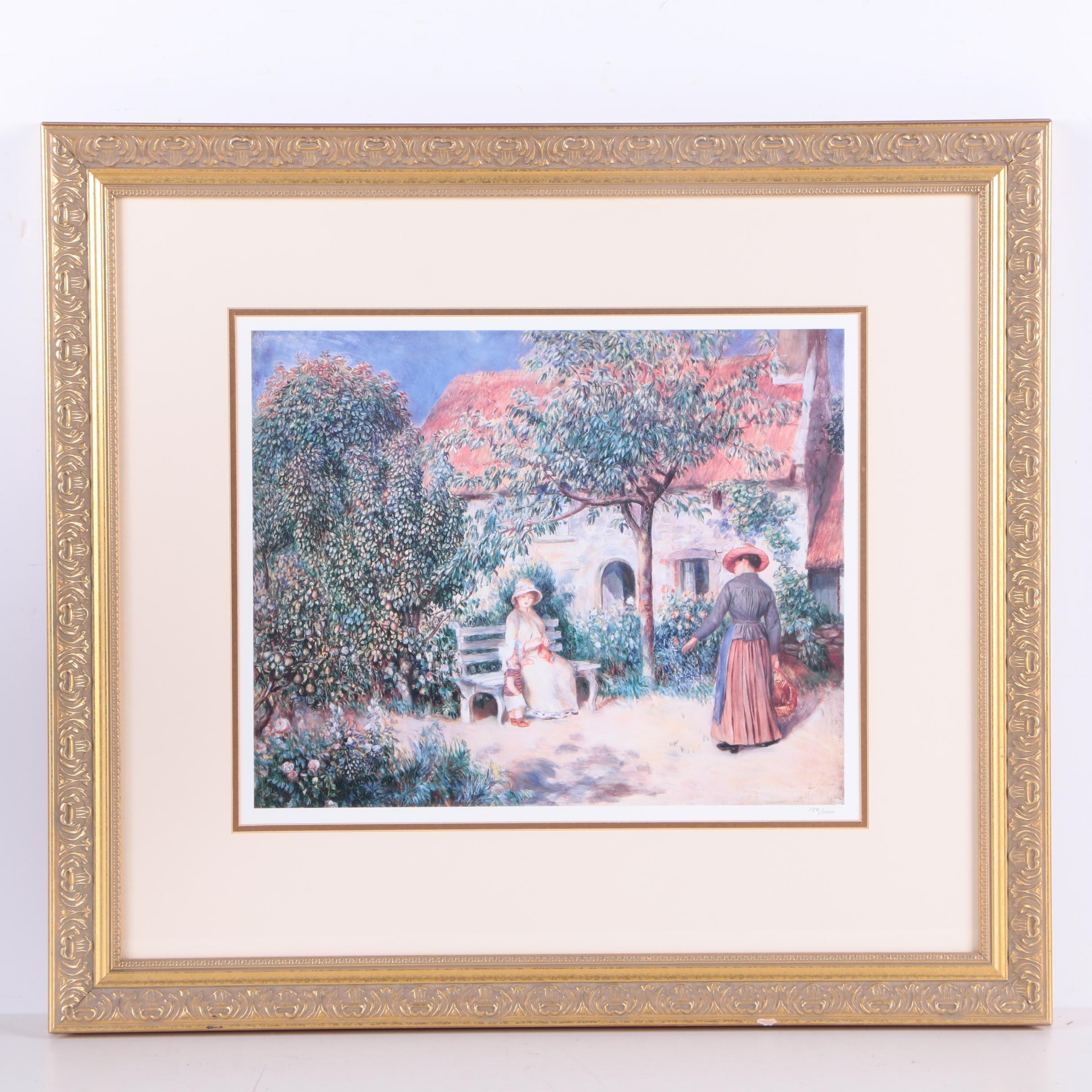 """Limited Edition Offset Lithograph After Renoir's """"Garden Scene in Brittany"""""""