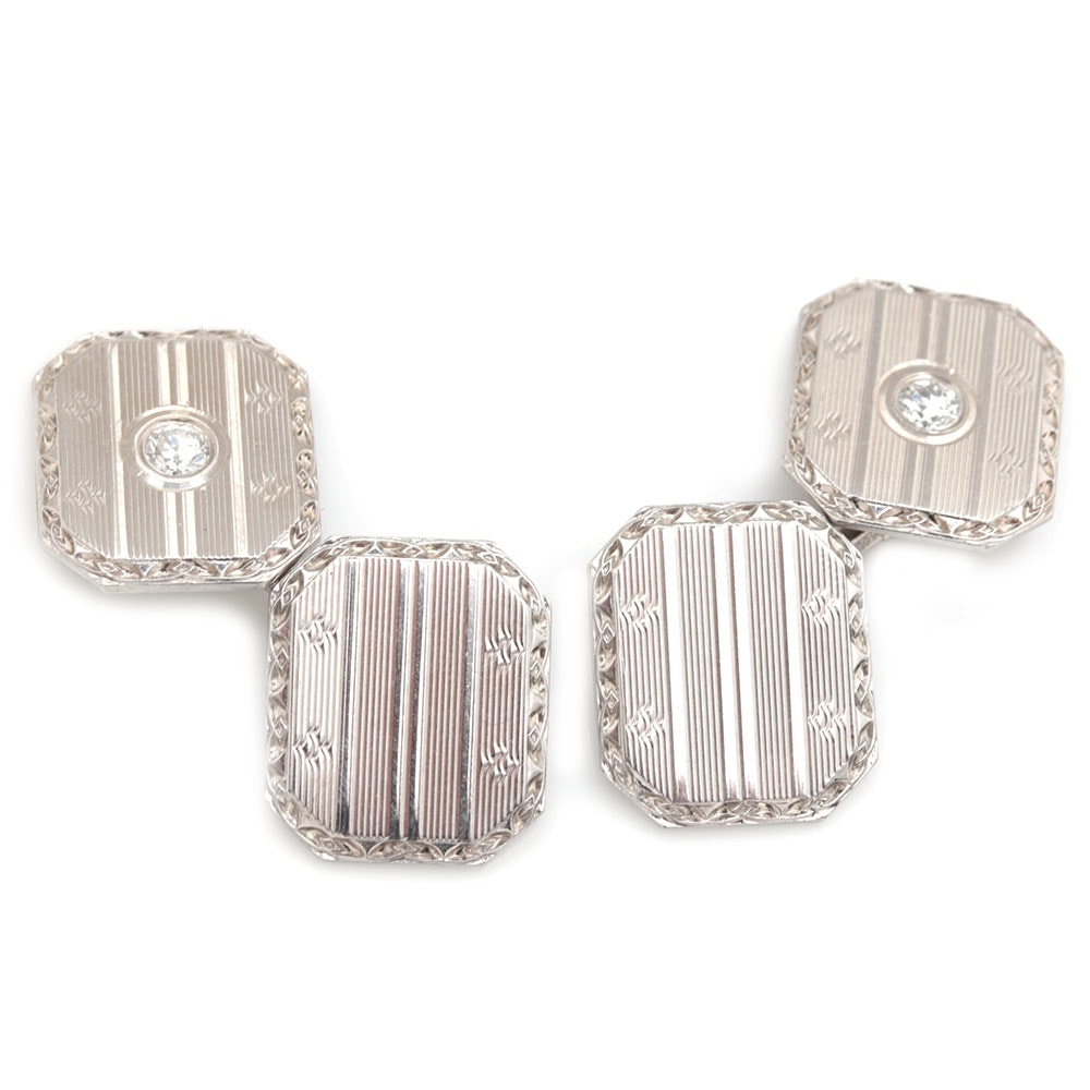 14K White Gold Diamond Cufflinks
