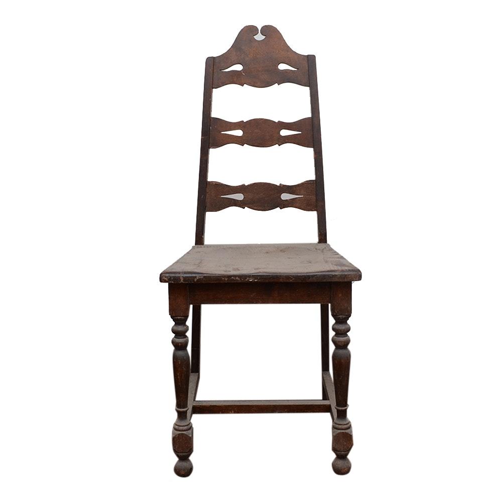 Victorian Walnut Ladder Back Side Chair