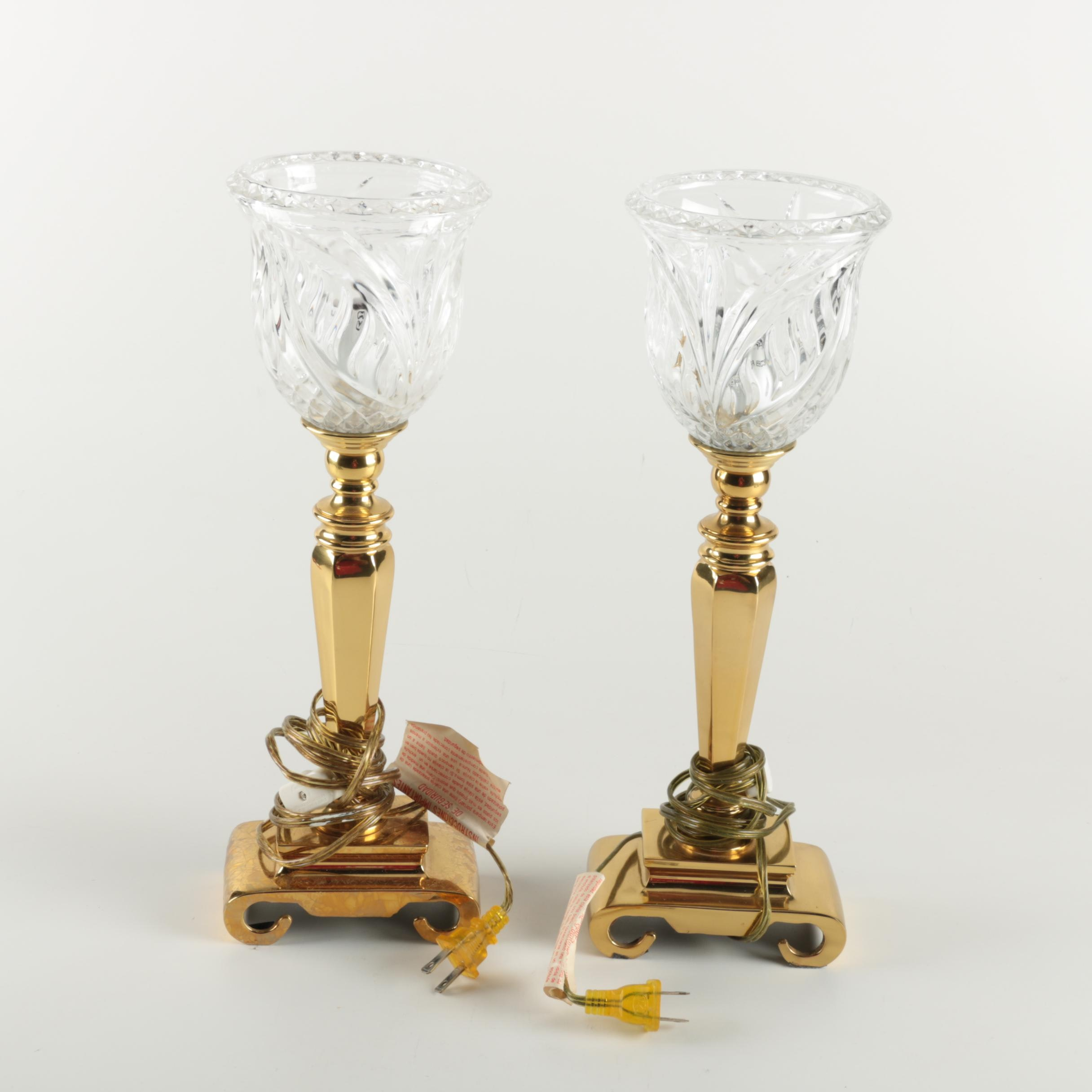 Brass and Crystal Torchette Lamps