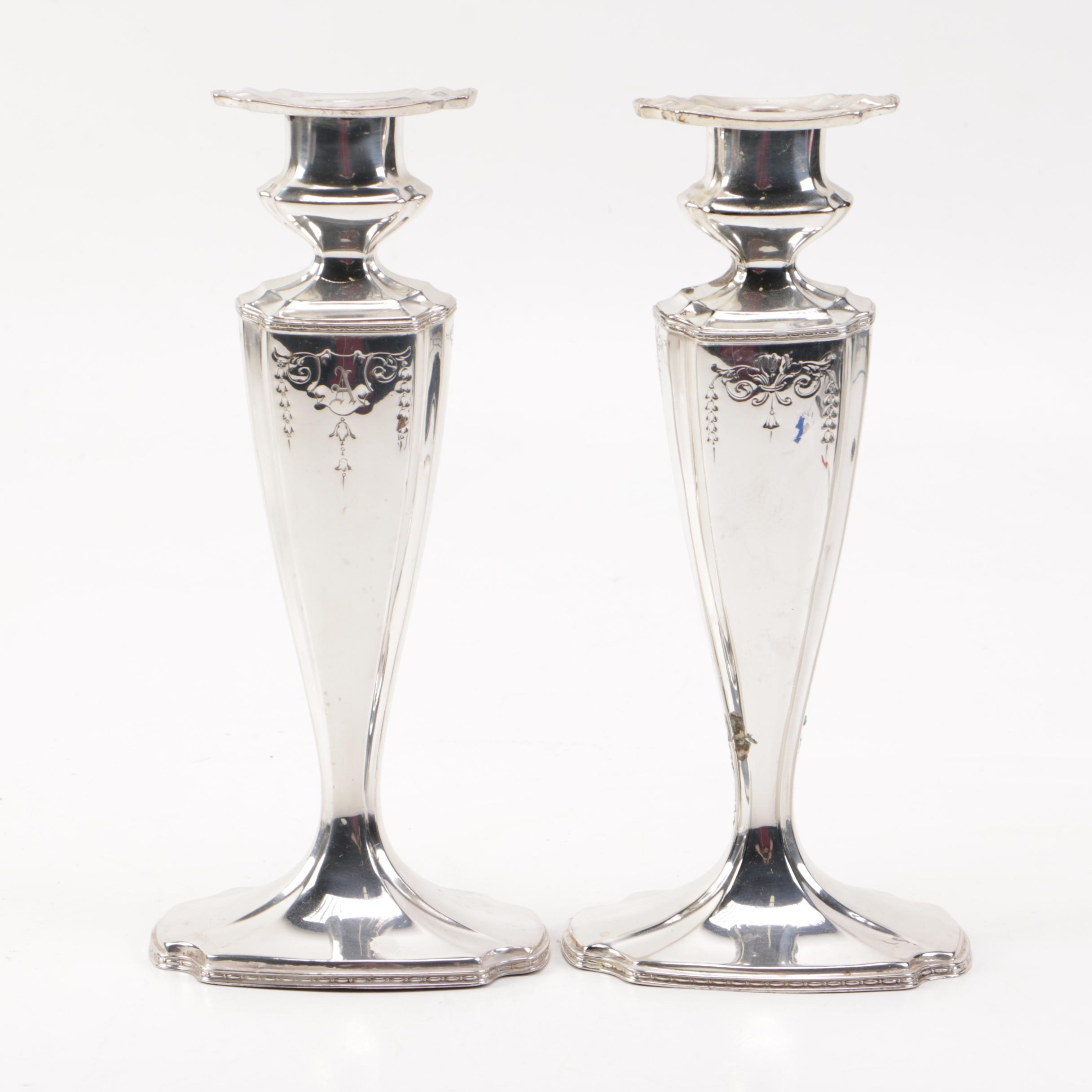 "W.D. Smith Silver Co. ""Chippendale"" Silver Plate Candlesticks"