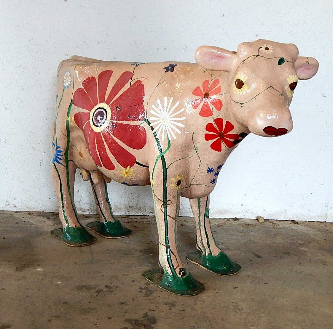 Flower Painted Fiberglass Cow