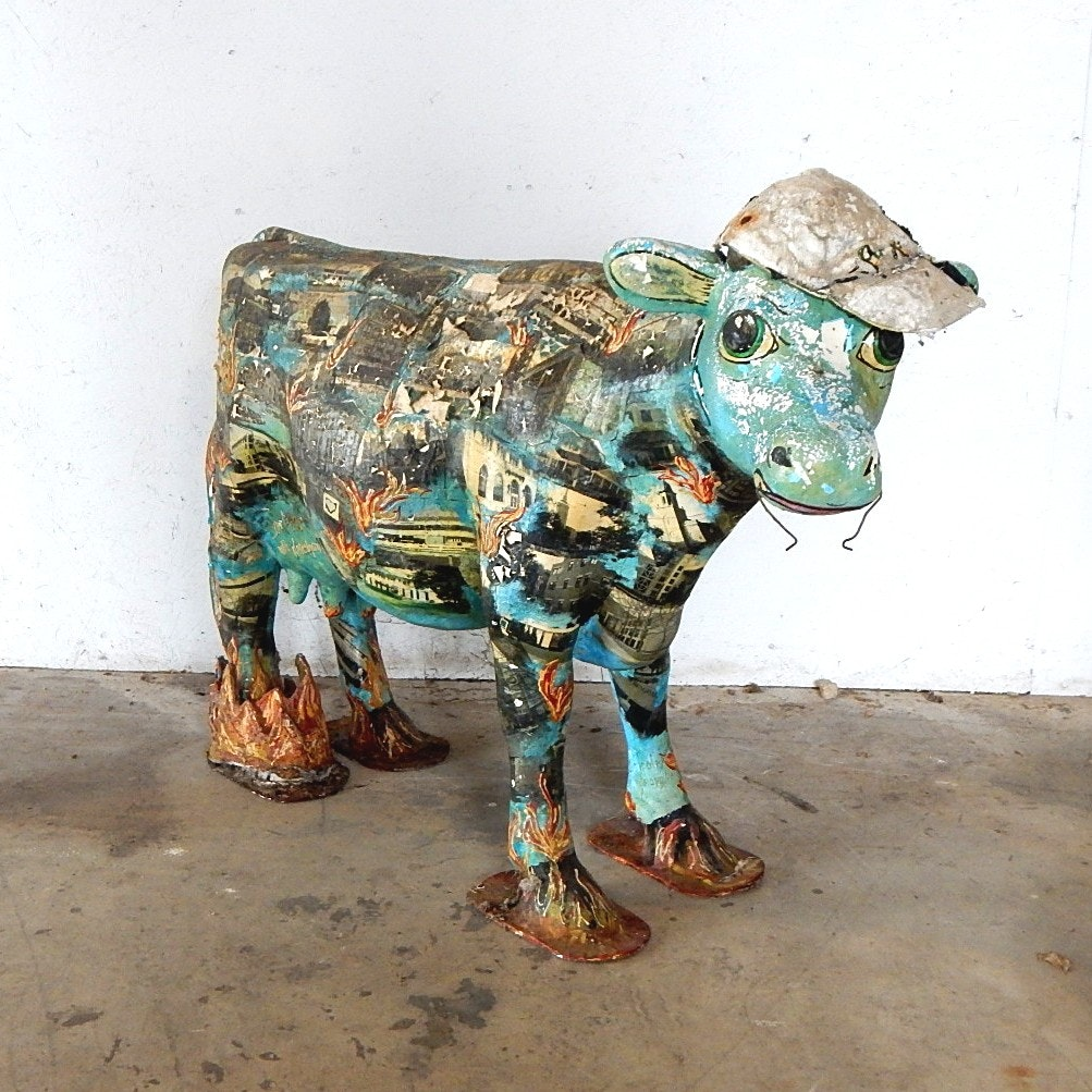 Decoupage Fiberglass Cow