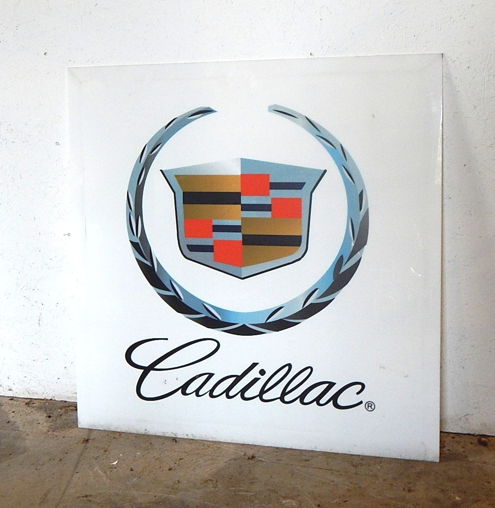 Vintage Plexiglas Car Manufacturer Sign - Cadillac