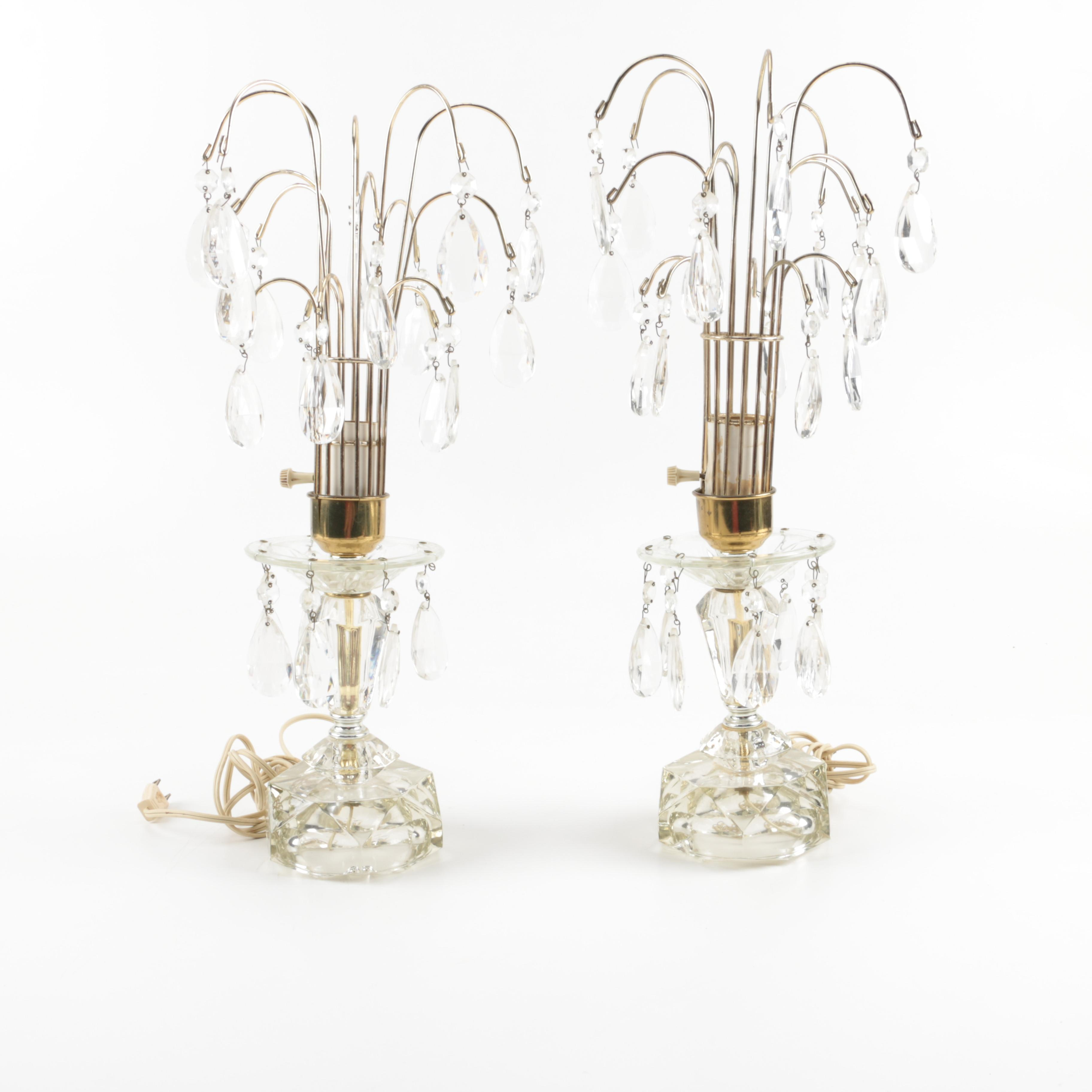 Candelabra Glass and Brass Accent Lamps