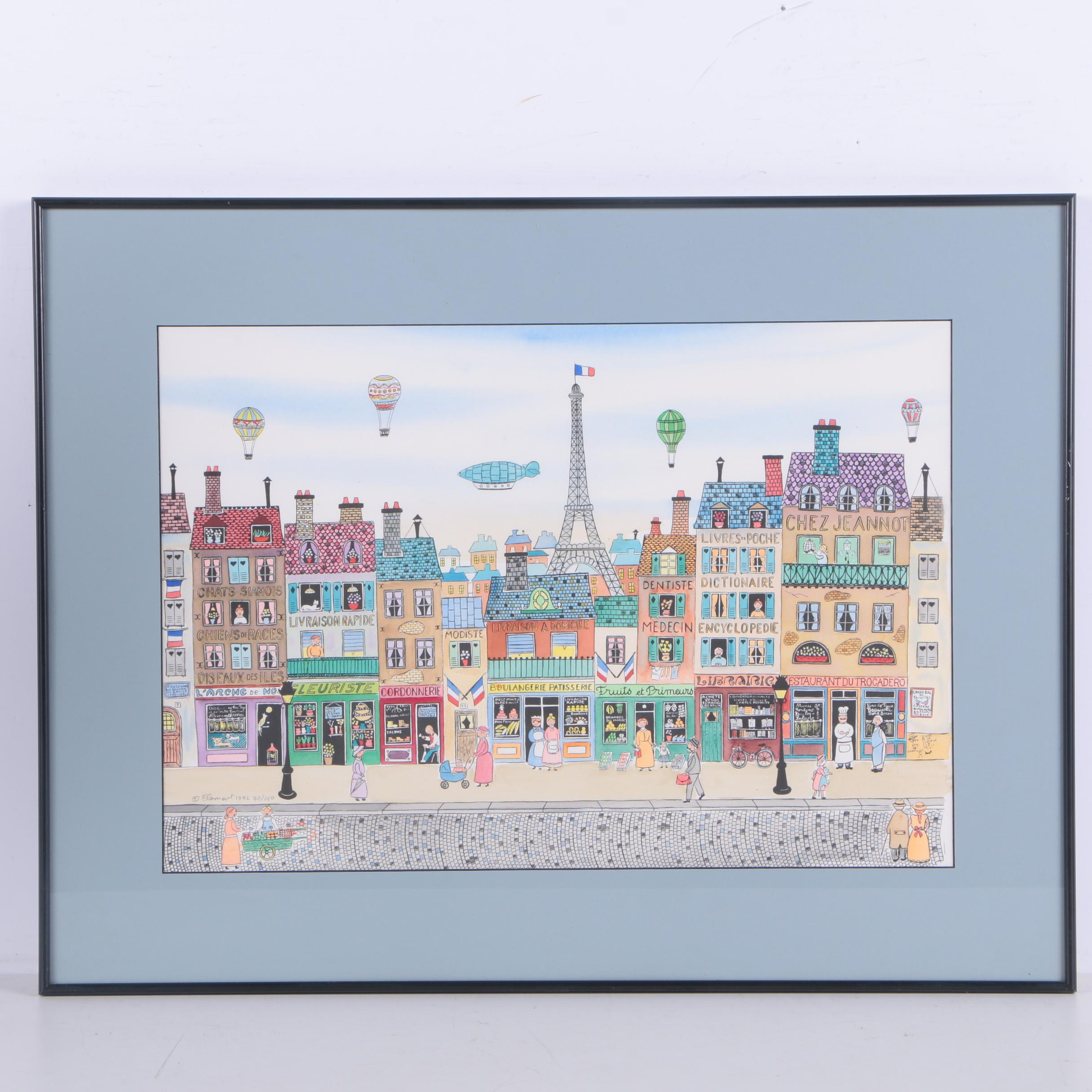 Limited Edition Hand-Colored Lithograph on Paper After Yvon Jeannot