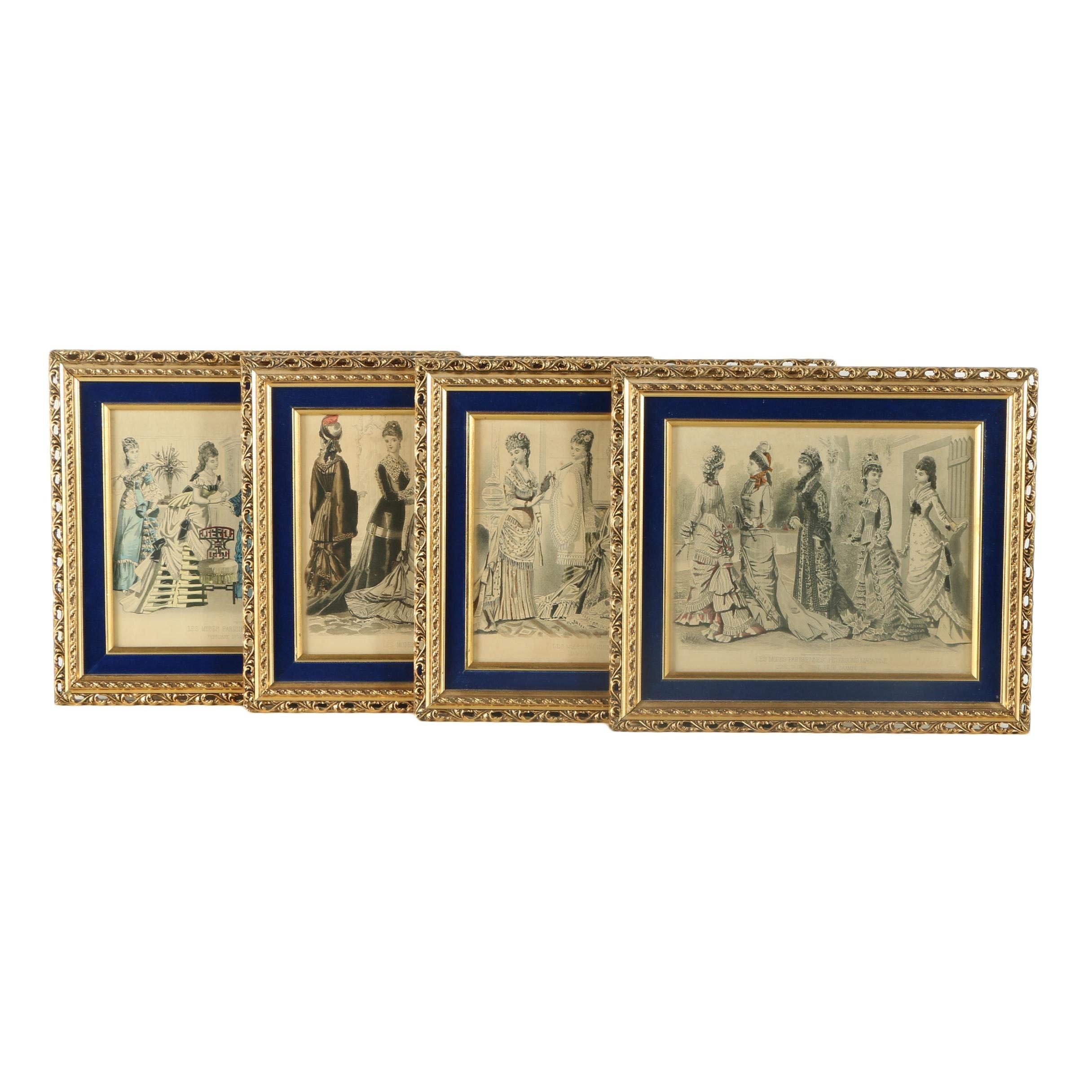 "1870s Hand-Colored ""Peterson's"" Fashion Plate Engravings ""Les Modes Parisiennes"""