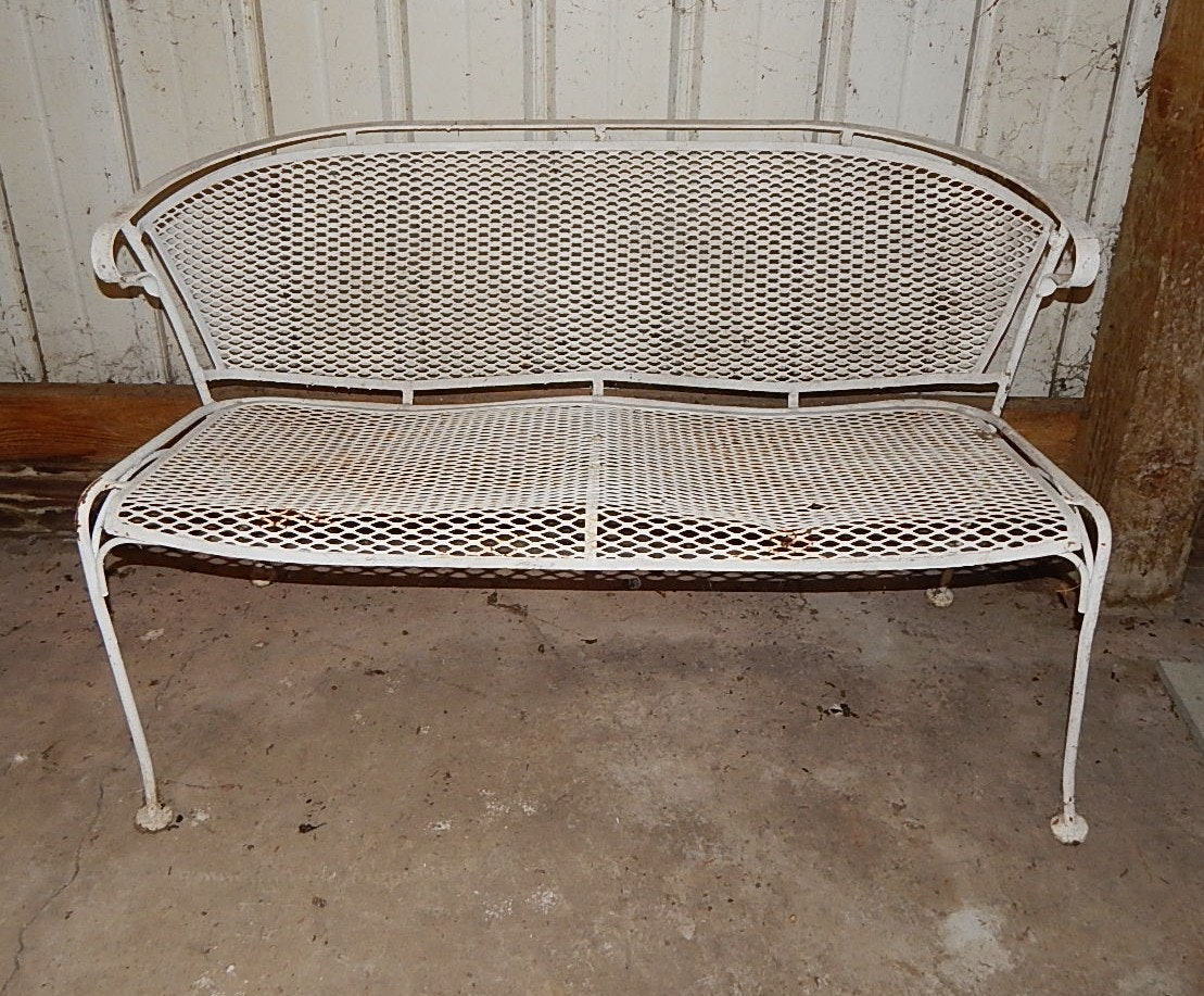 Vintage Wire Mesh Patio Bench