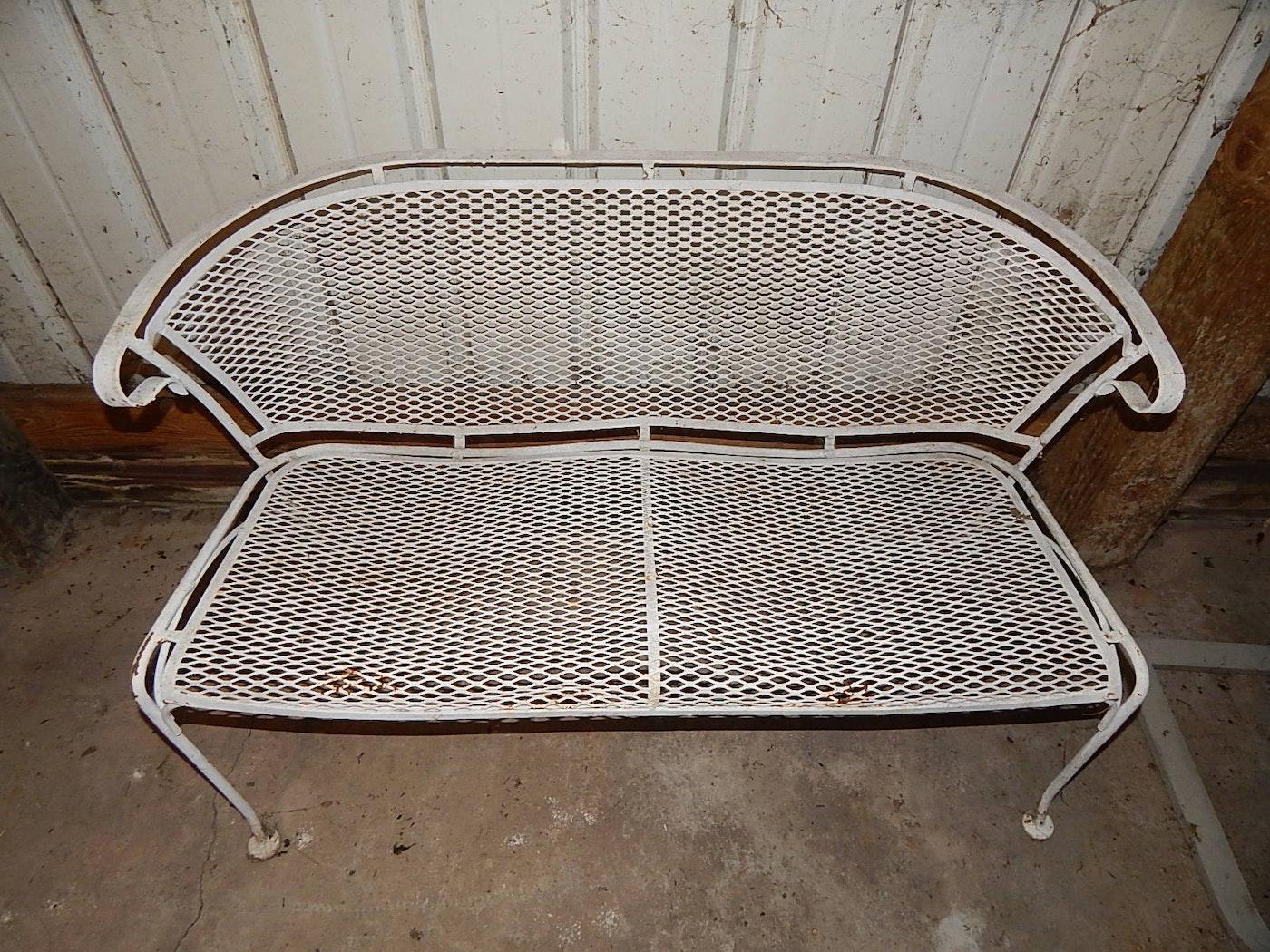 Vintage wire mesh patio bench ebth
