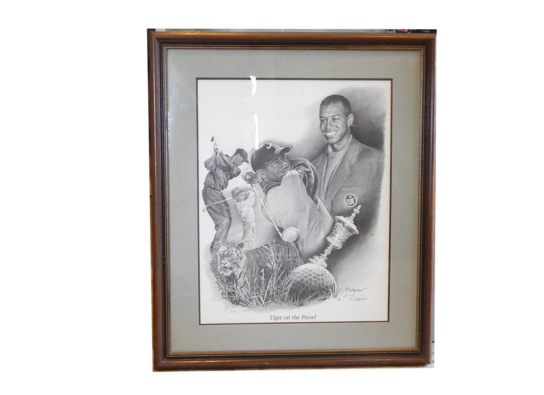 Framed Ron Stephens Tiger Woods Limited Edition Print