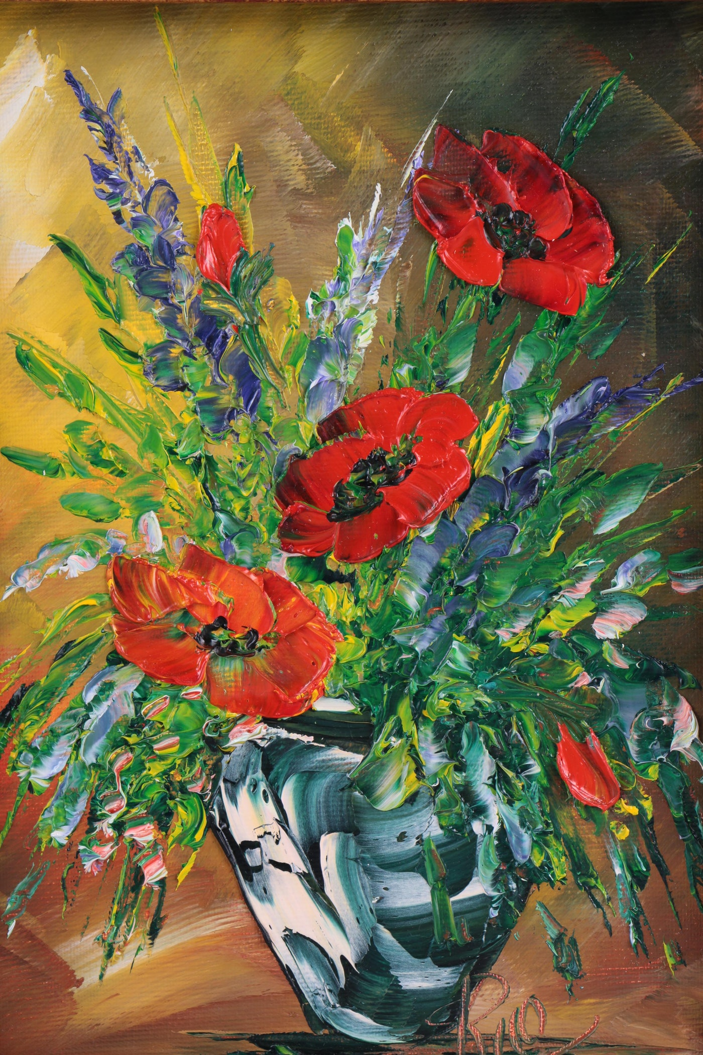 Oil Painting on Canvas of Flowers in Vase | EBTH