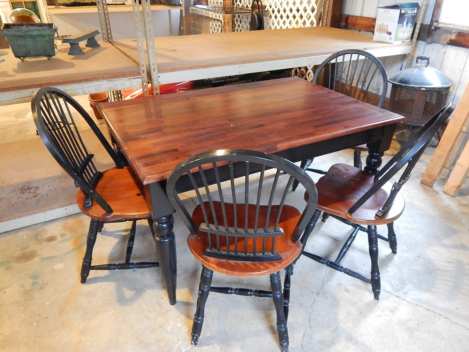 Farmhouse Style Dining Table and Four Chairs