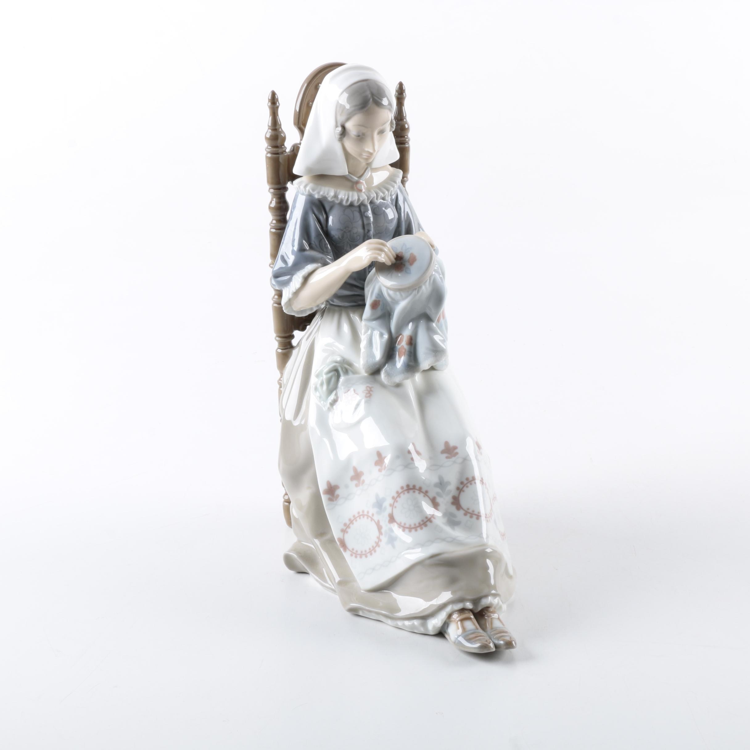 """A Lladro """"Embroidery Lady"""" Figurine"""