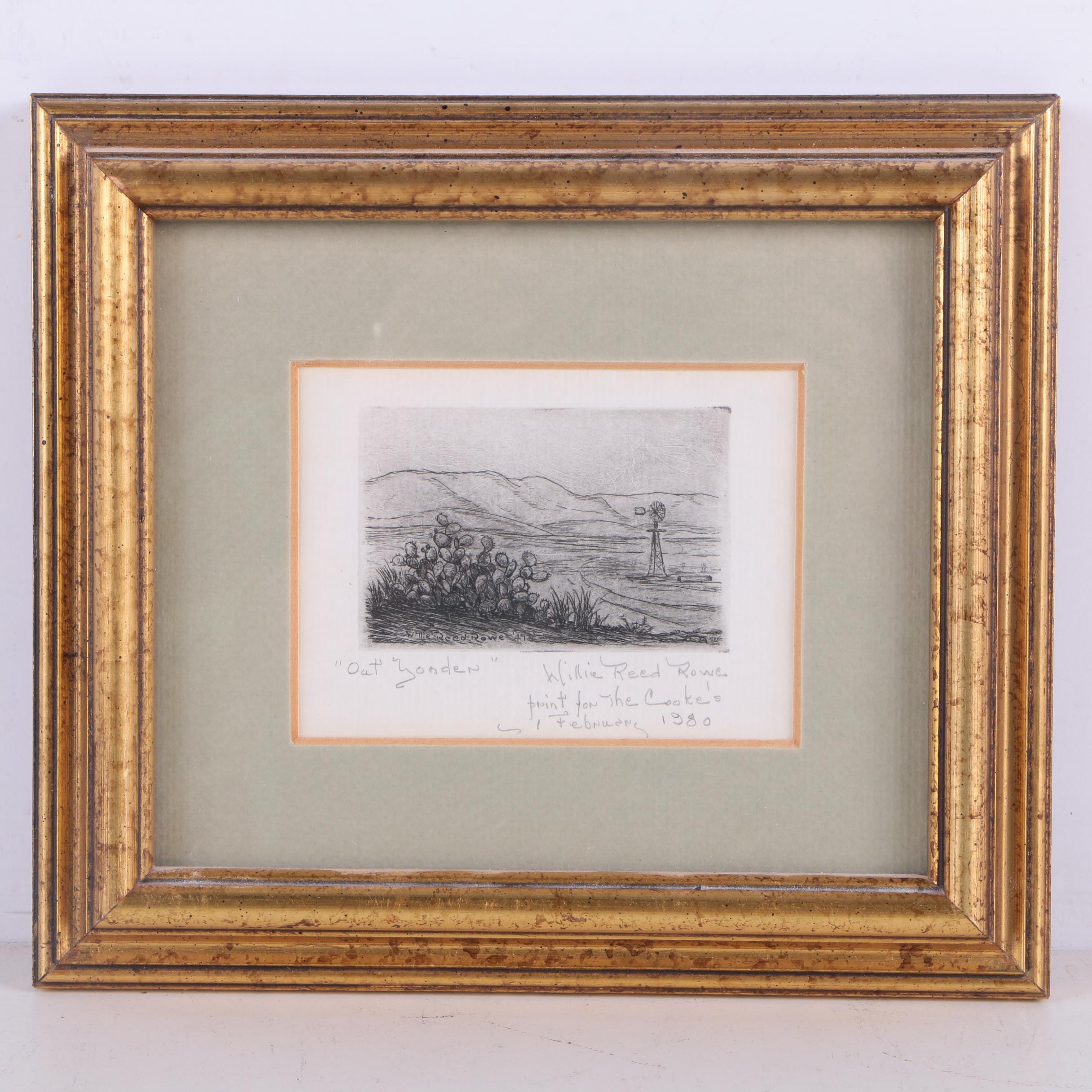 "Willie Reed Rowe Etching on Paper after ""Out Yonder"""