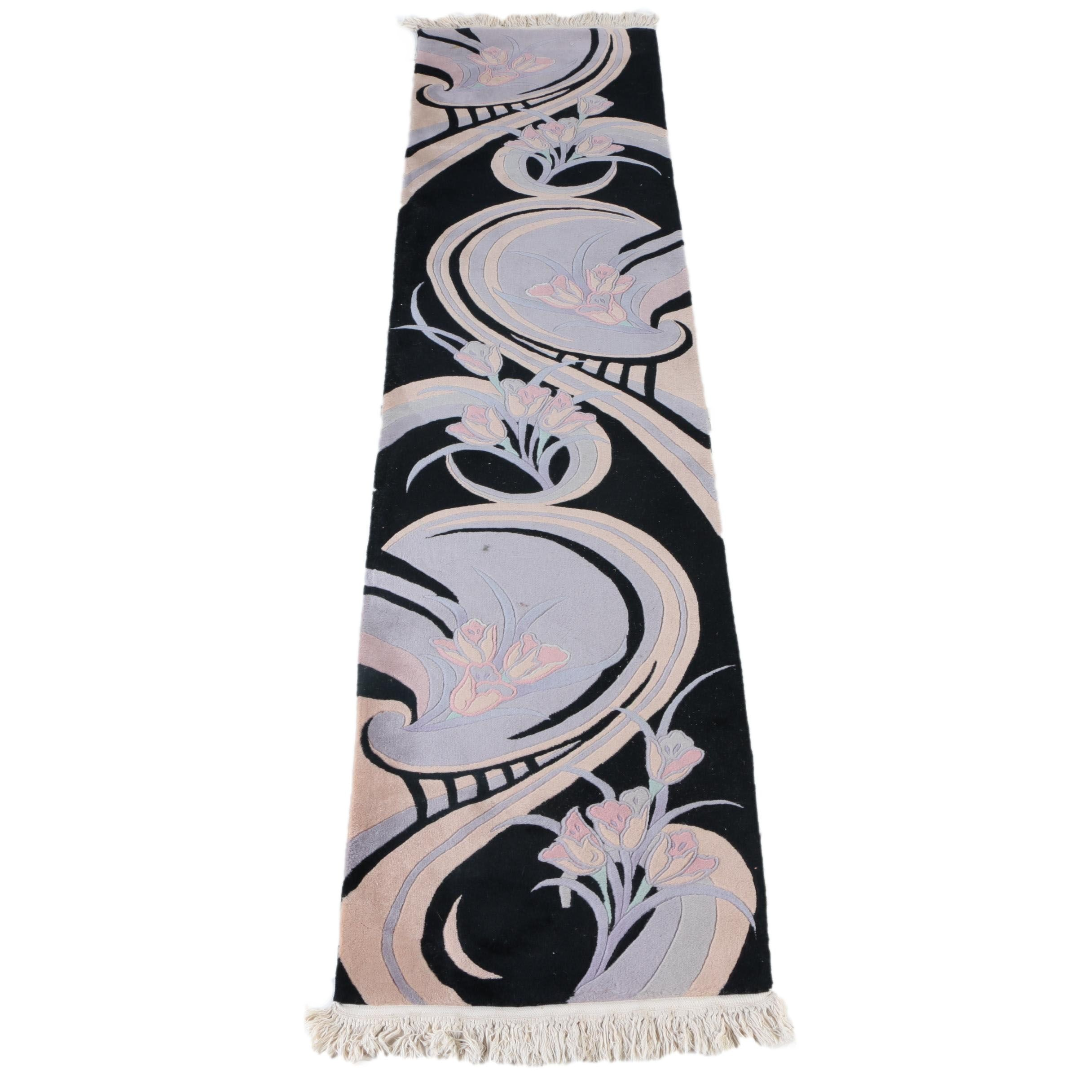 Hand-Knotted Contemporary Floral Wool Carpet Runner