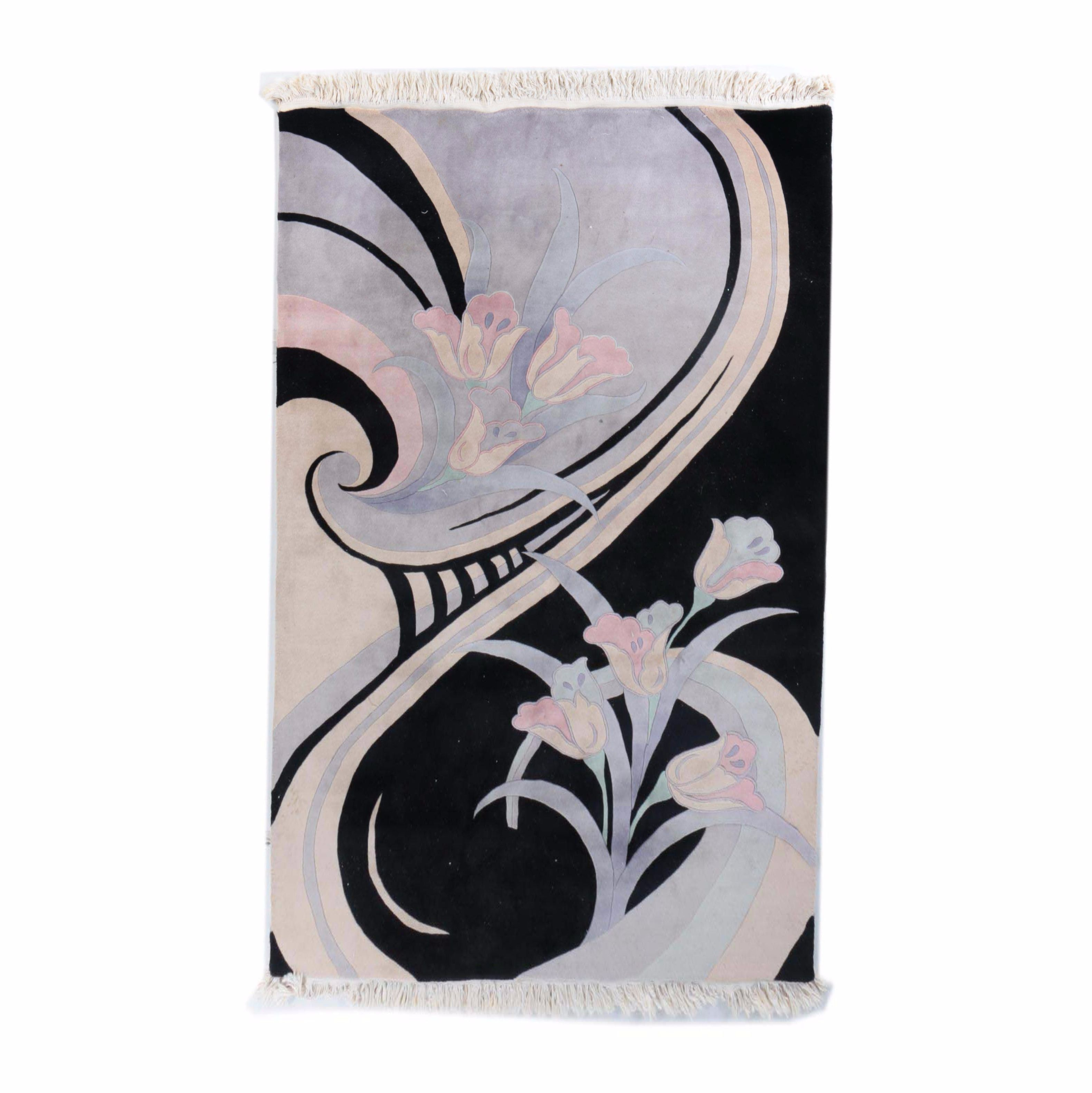 Hand-Knotted Contemporary Floral Wool Area Rug