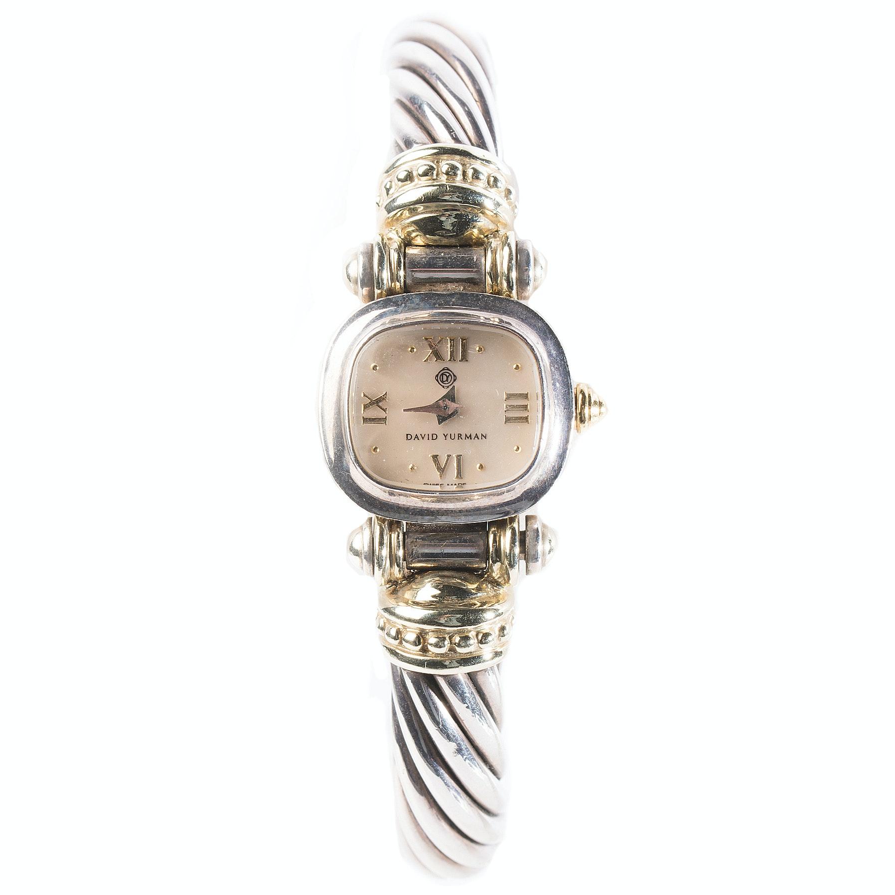 David Yurman Sterling Silver and 14K Yellow Gold Bangle Wristwatch