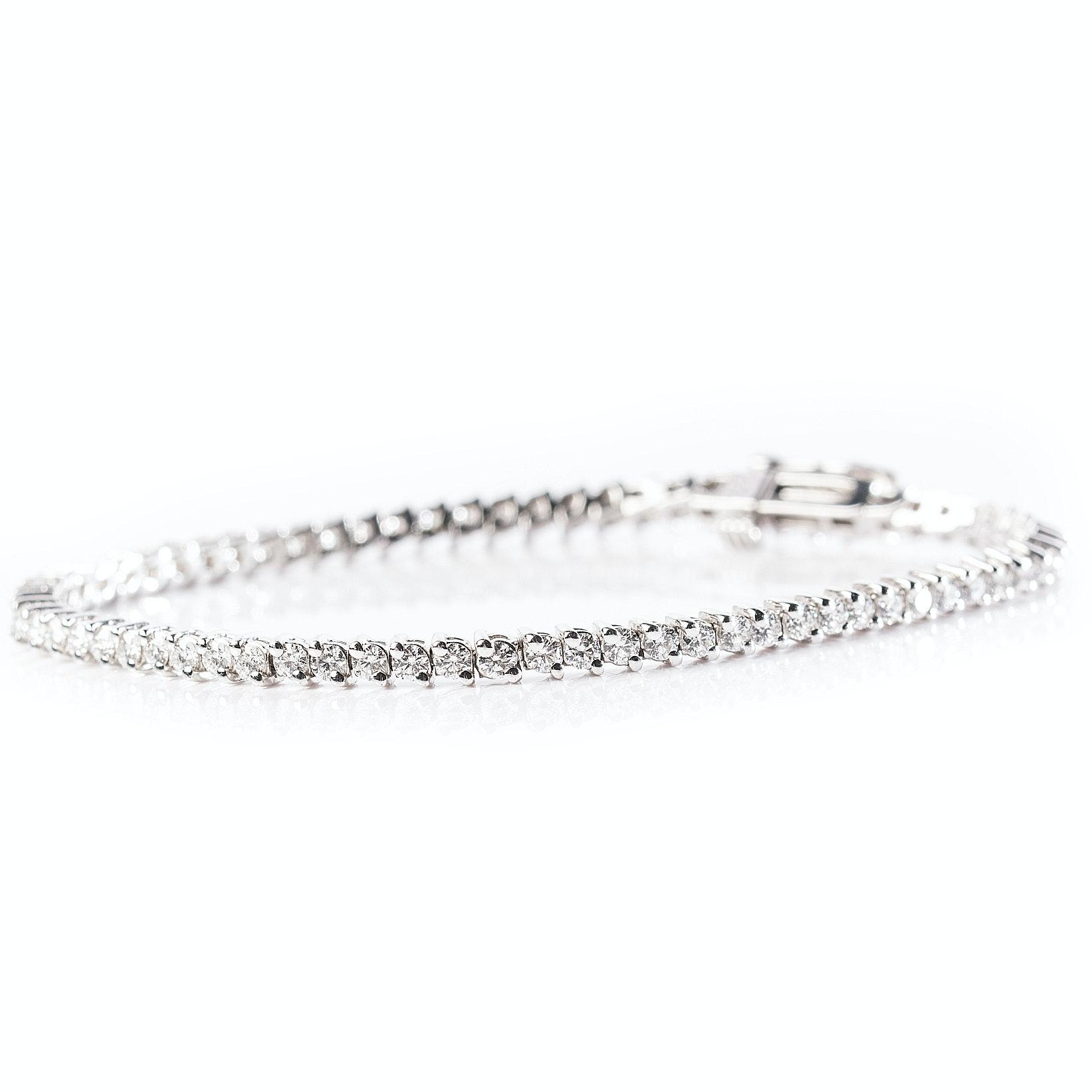 14K White Gold 3.00 CTW Diamond Tennis Bracelet