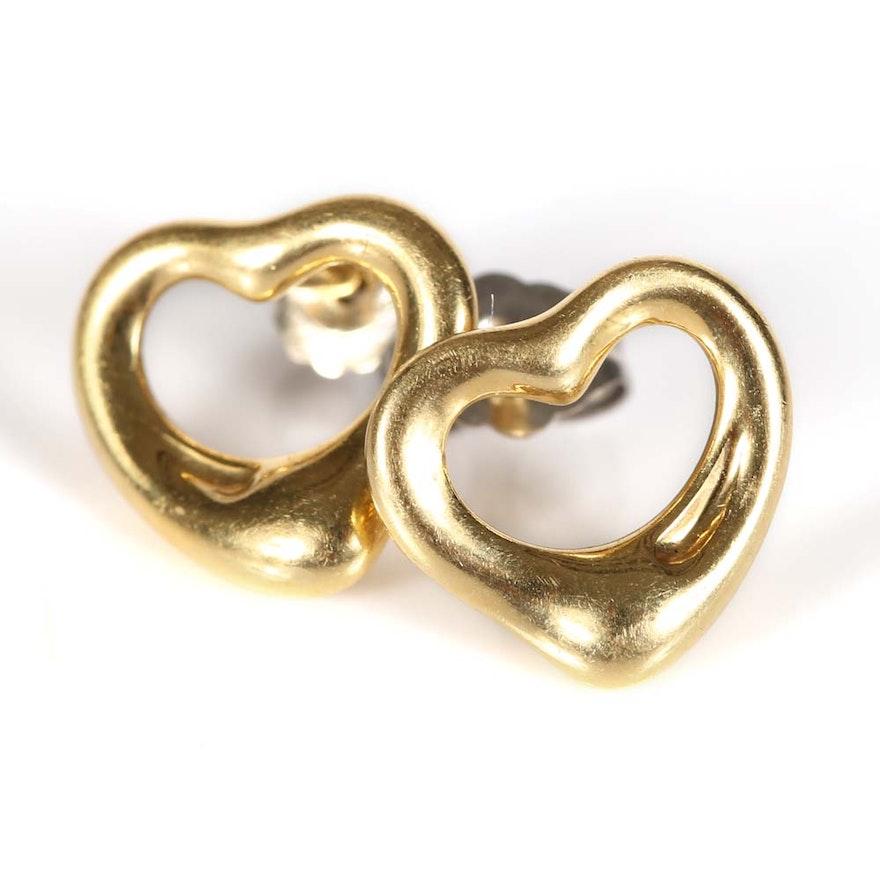 a62ed9ae3 Elsa Peretti Tiffany & Co. 18K Yellow Gold Open Heart Earrings   EBTH