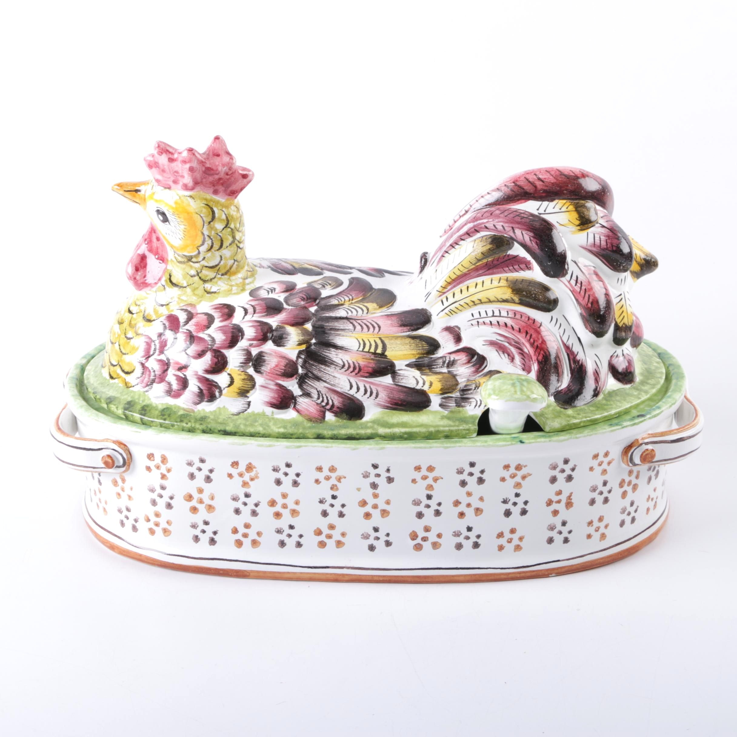 Italian Pottery Ceramic Chicken Soup Tureen with Ladle