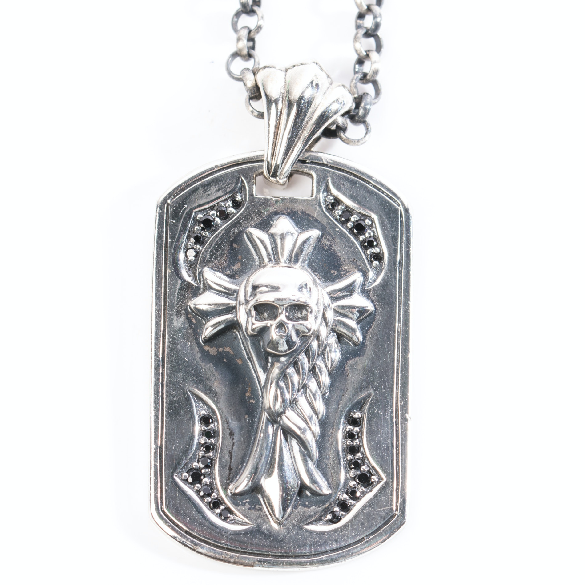Sterling Silver Skull Black Cubic Zirconia Necklace