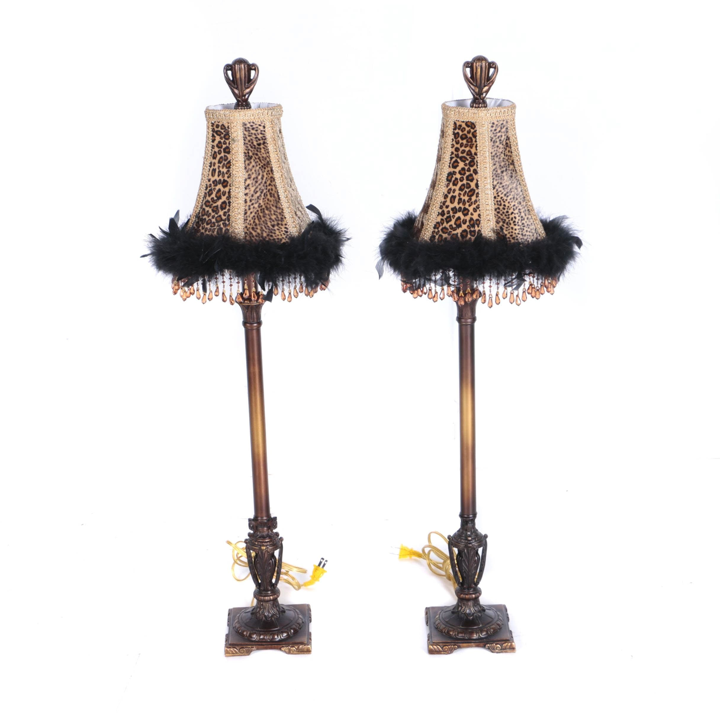 Animal Print Wooden Table Lamps