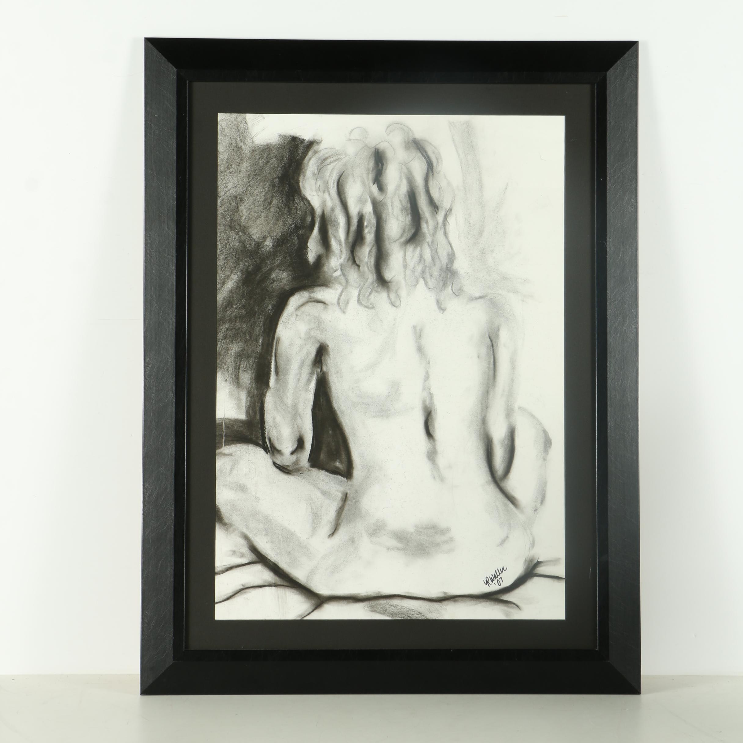 R. Waller Charcoal Drawing of Nude Figure
