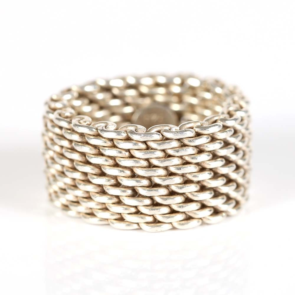 "Tiffany & Co Sterling Silver ""Somerset"" Mesh Ring"