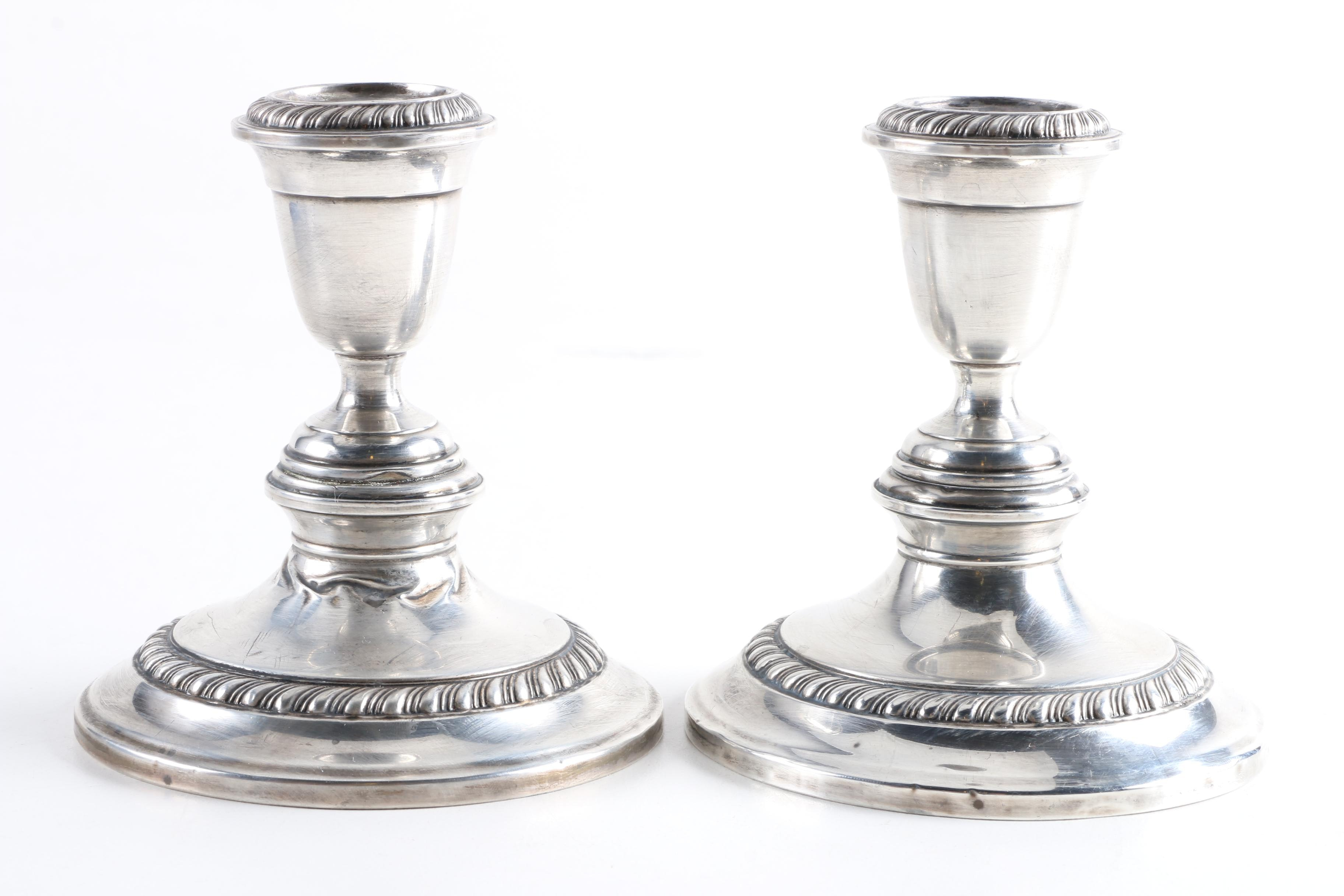 Pair of Alvin Weighted Sterling Candleholders