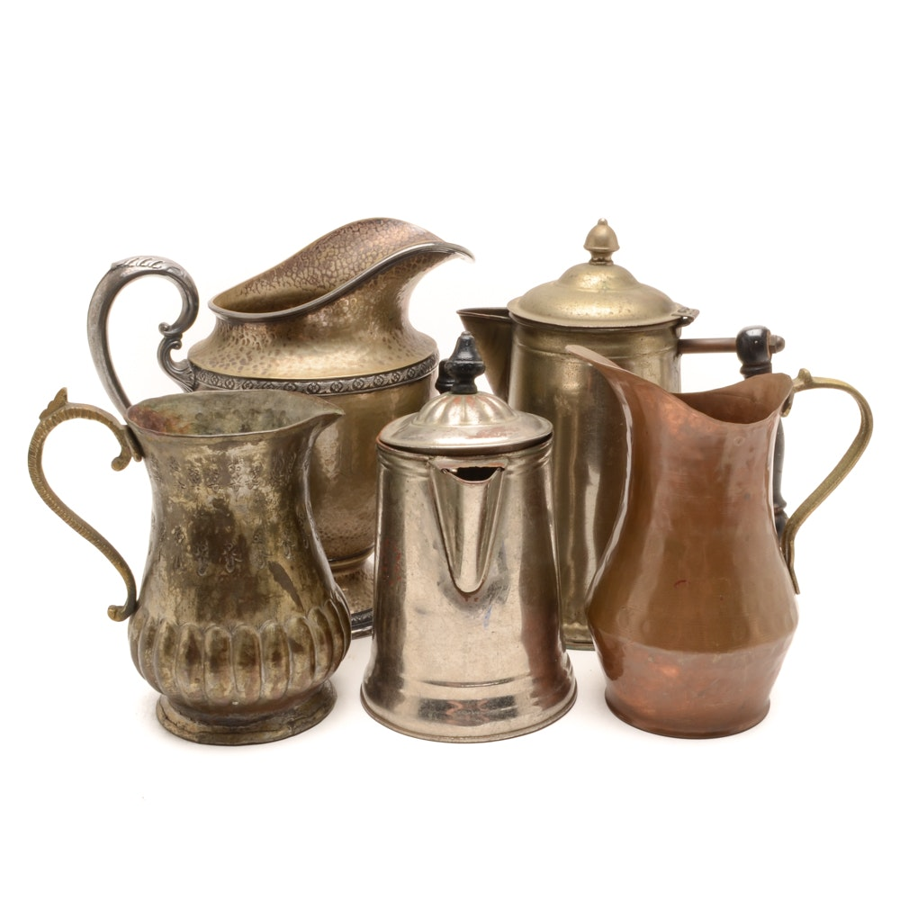 Collection of Vintage Metal Pitchers