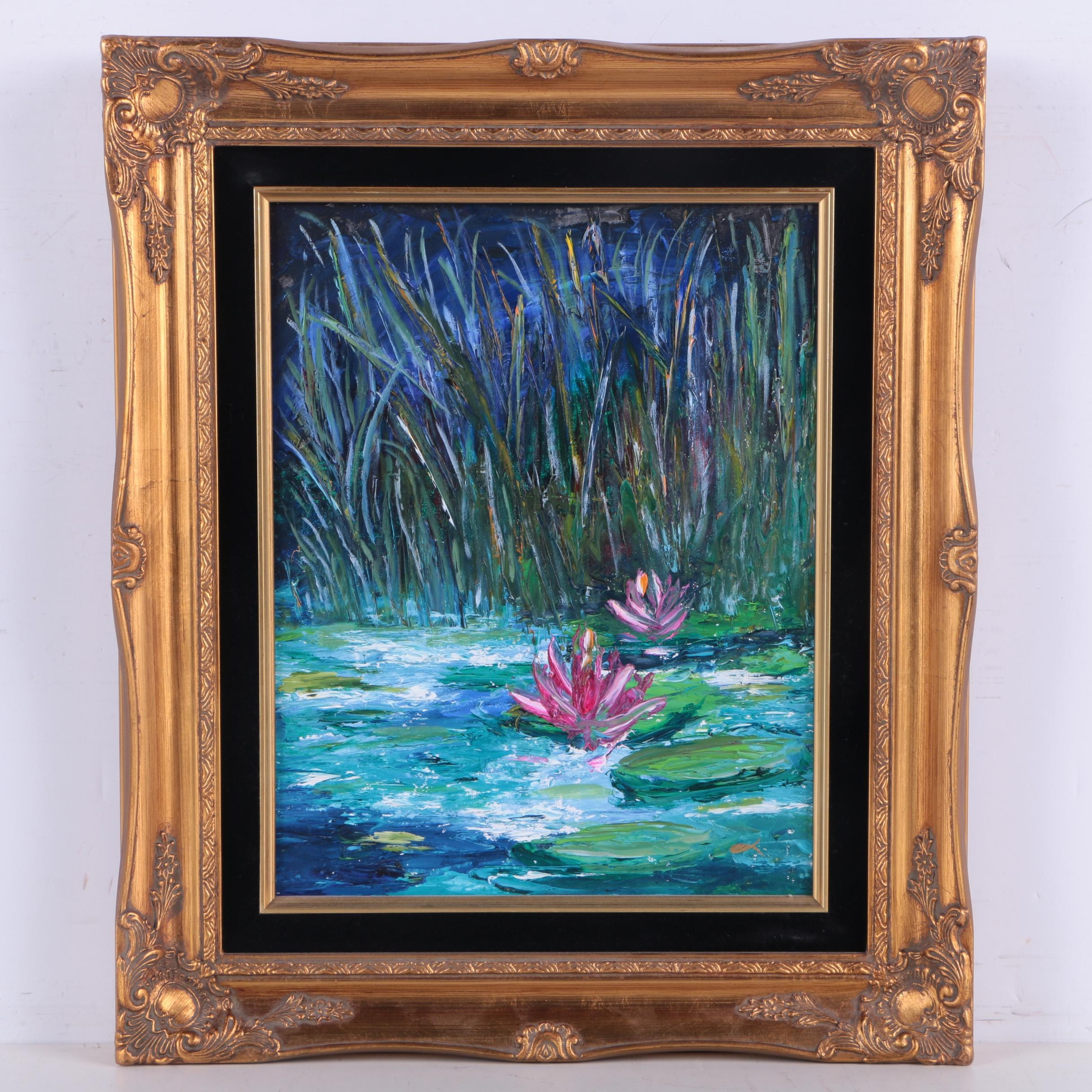 """Evelyn Fish Oil Painting on Panel """"Peaceful Pond"""""""