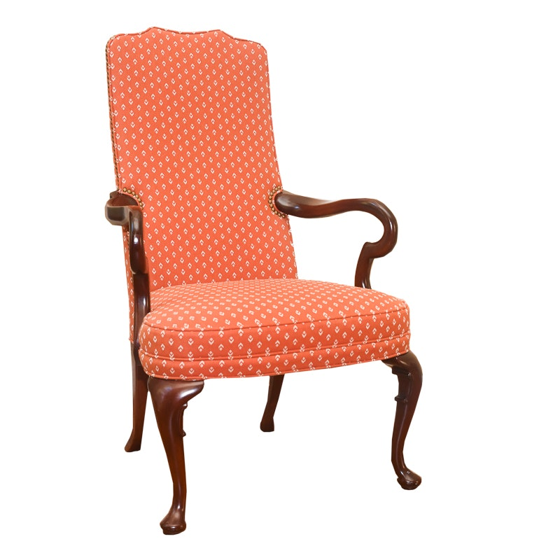 Queen Anne Style Orange Gooseneck Armchair by Hickory Chair