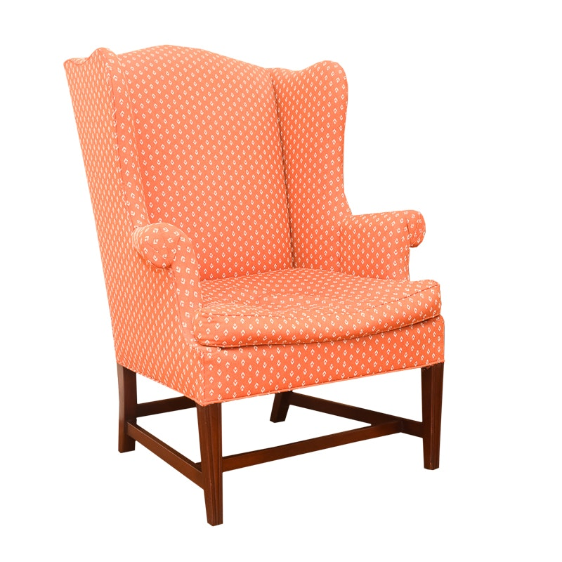Orange Wingback Armchair by Hickory Chair