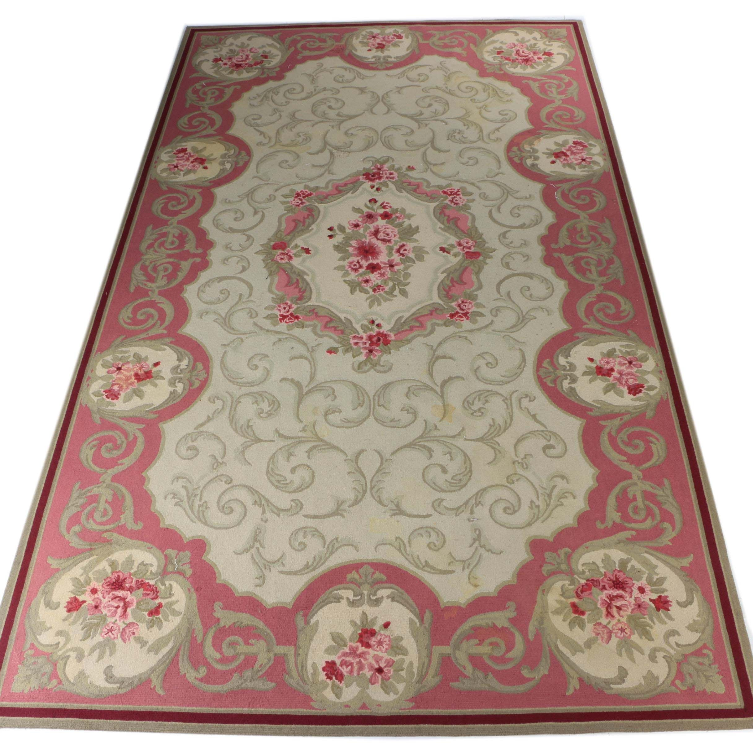 Large Hand-Tufted Lacey-Champion Floral Wool Rug