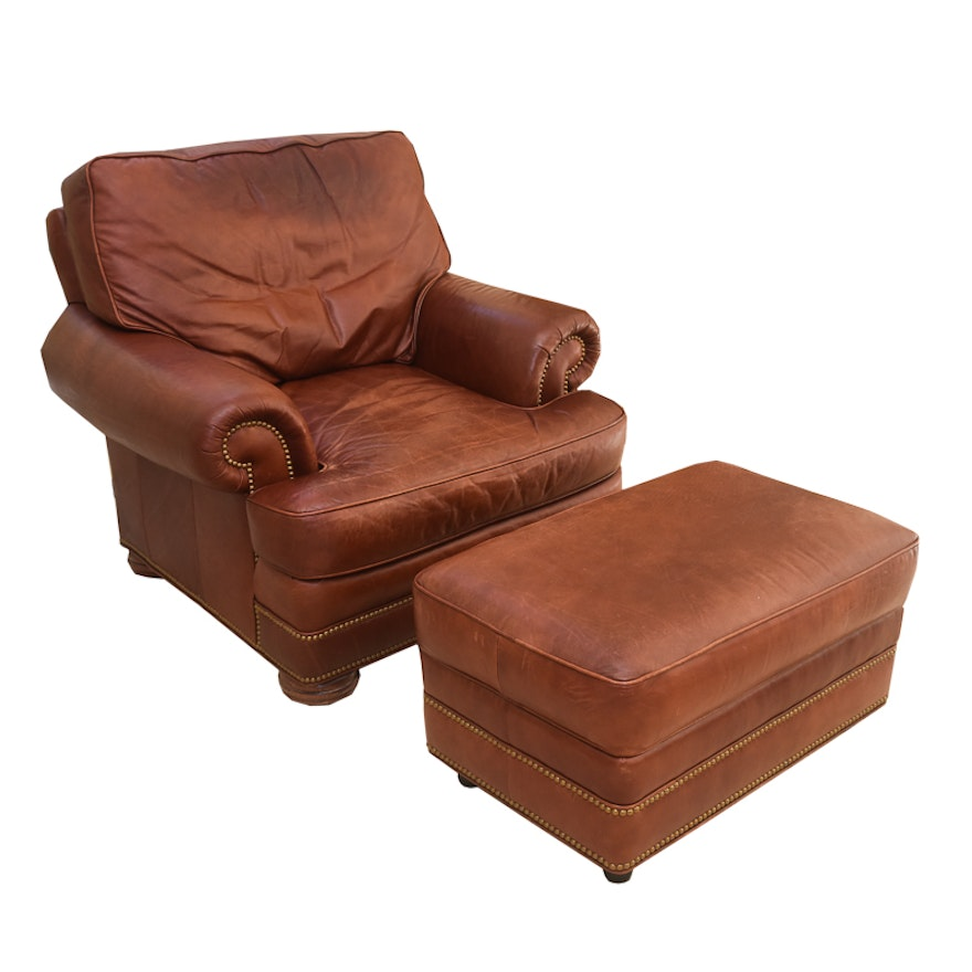 Leather Lounge Chair And Ottoman By Whittemore Sherrill Ebth