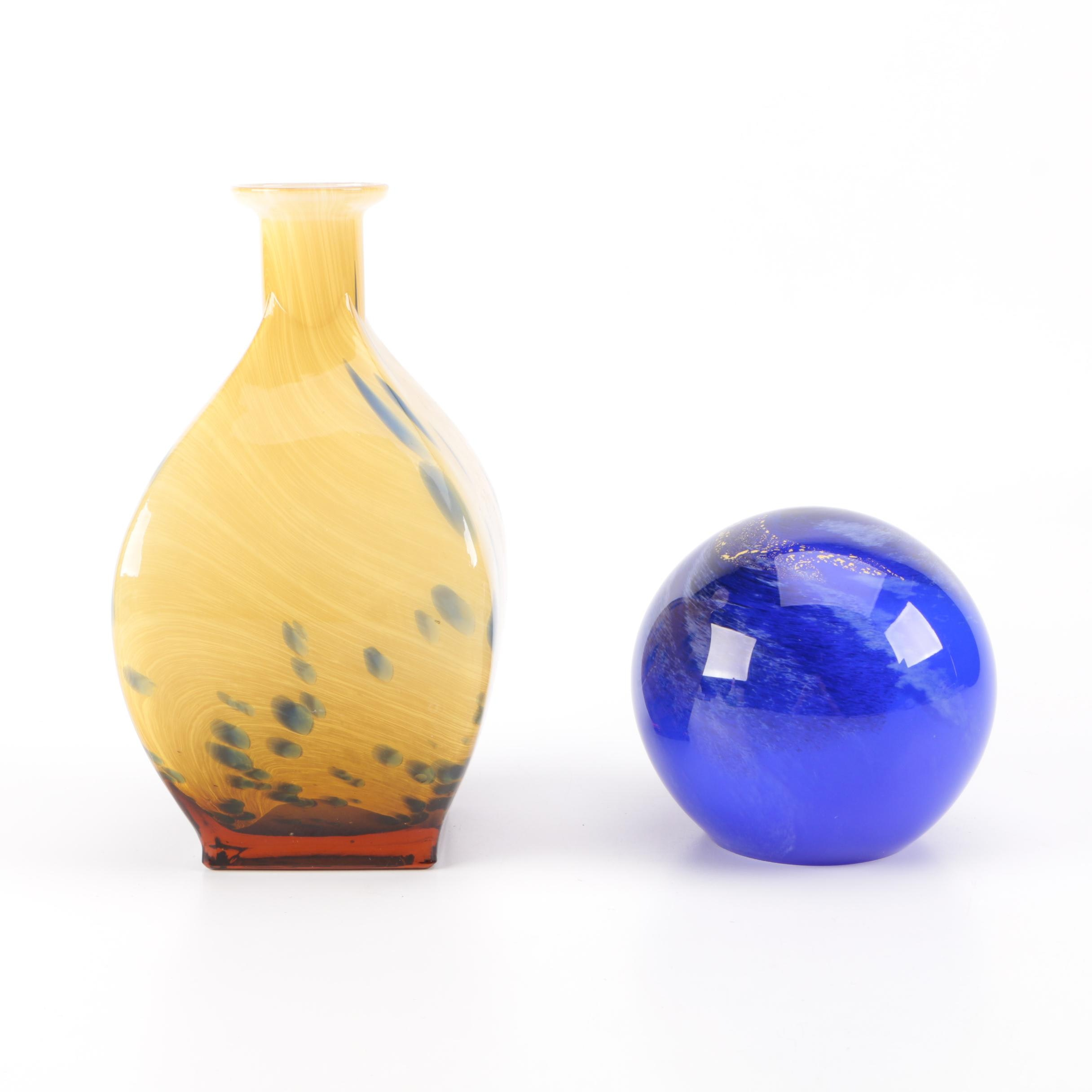 Decorative Art Glass Paperweight and Vase