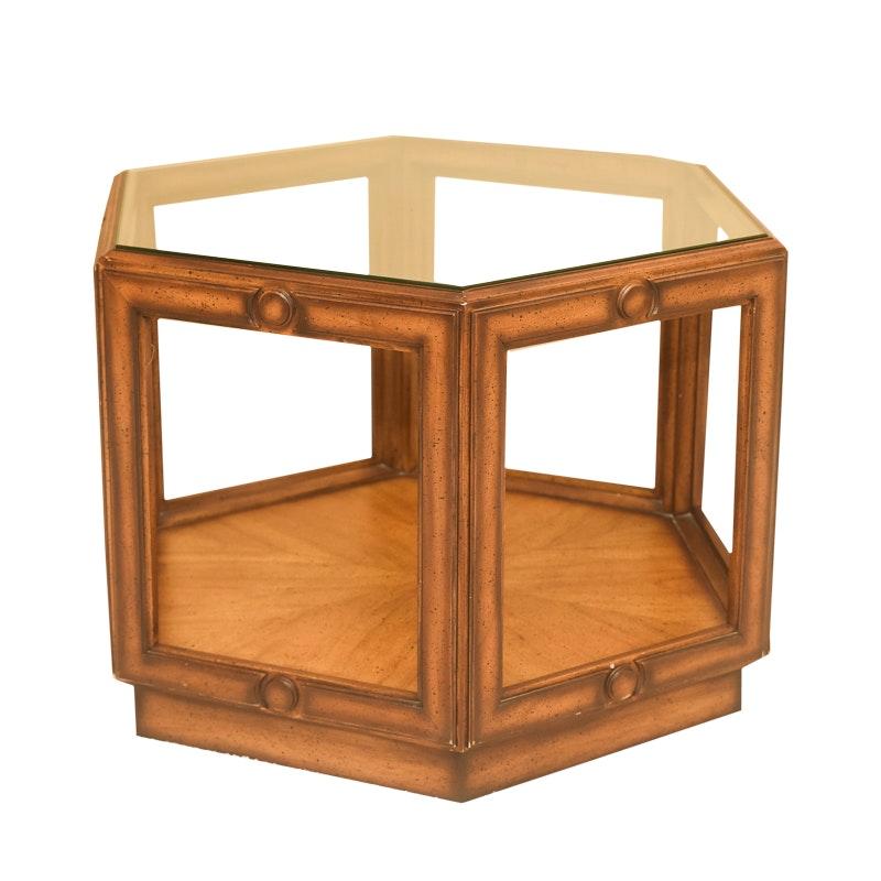 Vintage Glass Top Hexagonal End Table