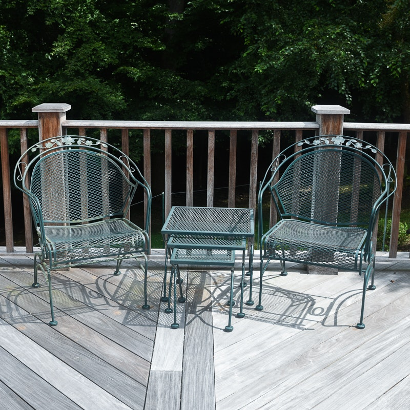 Green Metal Patio Chairs and Nesting Tables