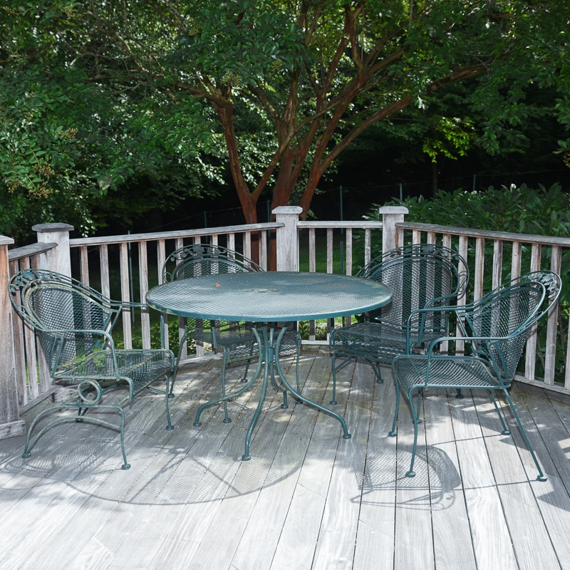 Green Metal Patio Table and Chairs