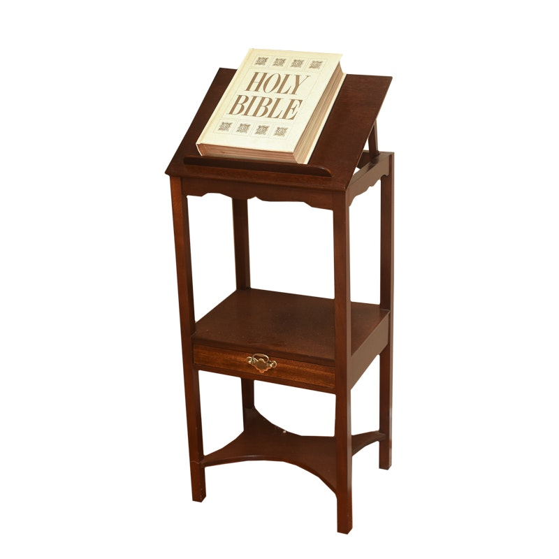 Vintage Book Stand with Bible