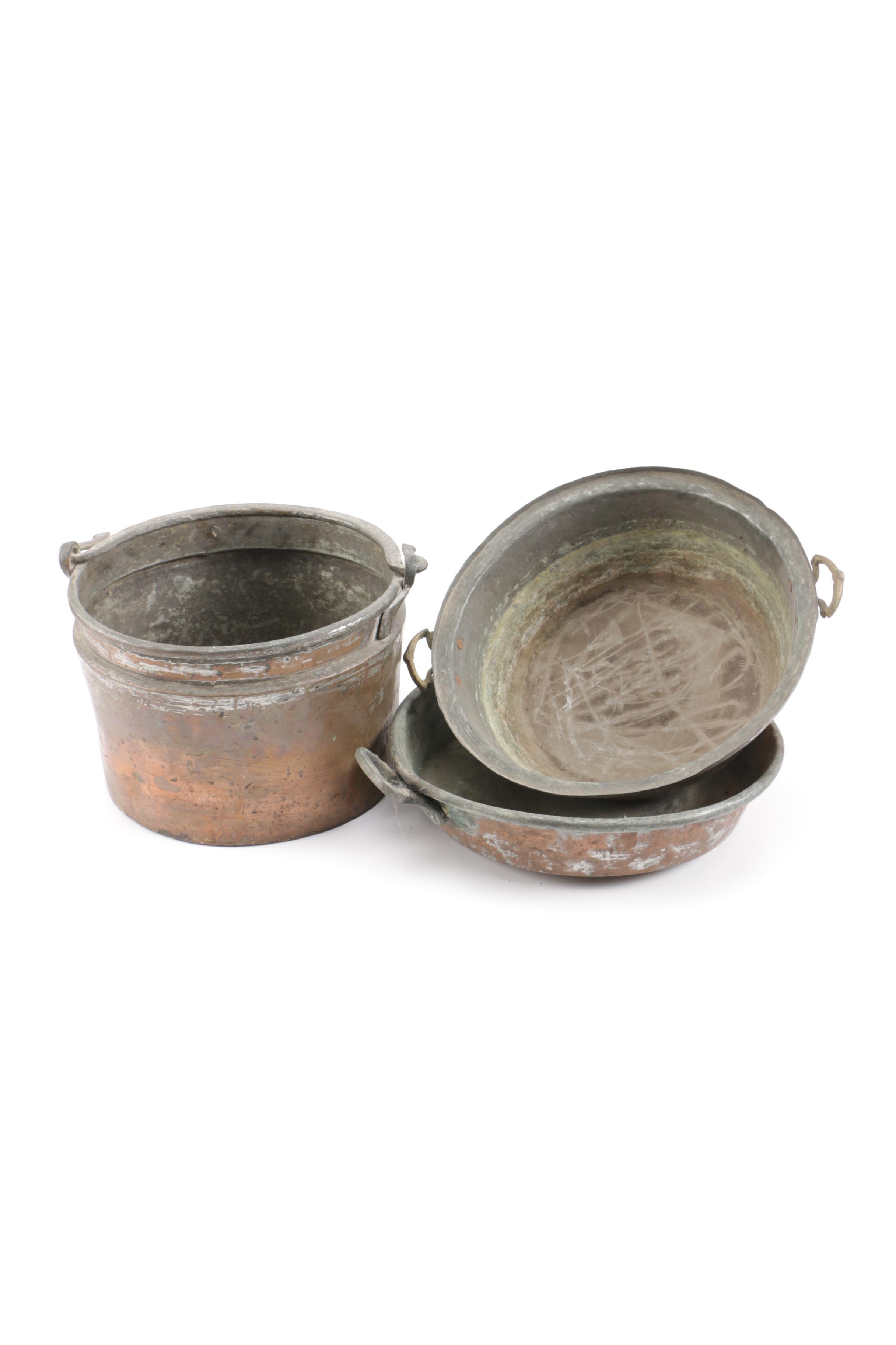 Vintage Copper Clad Bucket and Bowls
