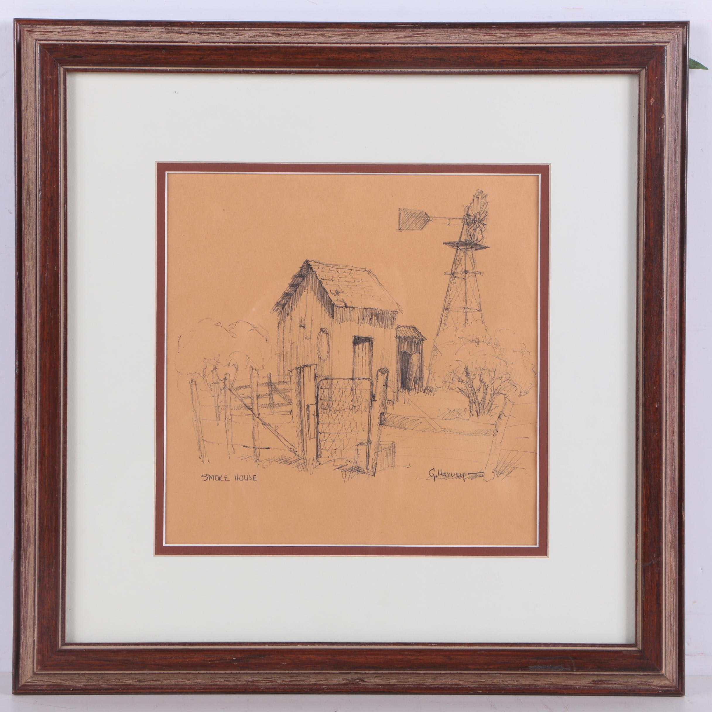 "Attributed to Gerald Harvey Circa 1971 Ink Drawing on Paper ""Smoke House"""