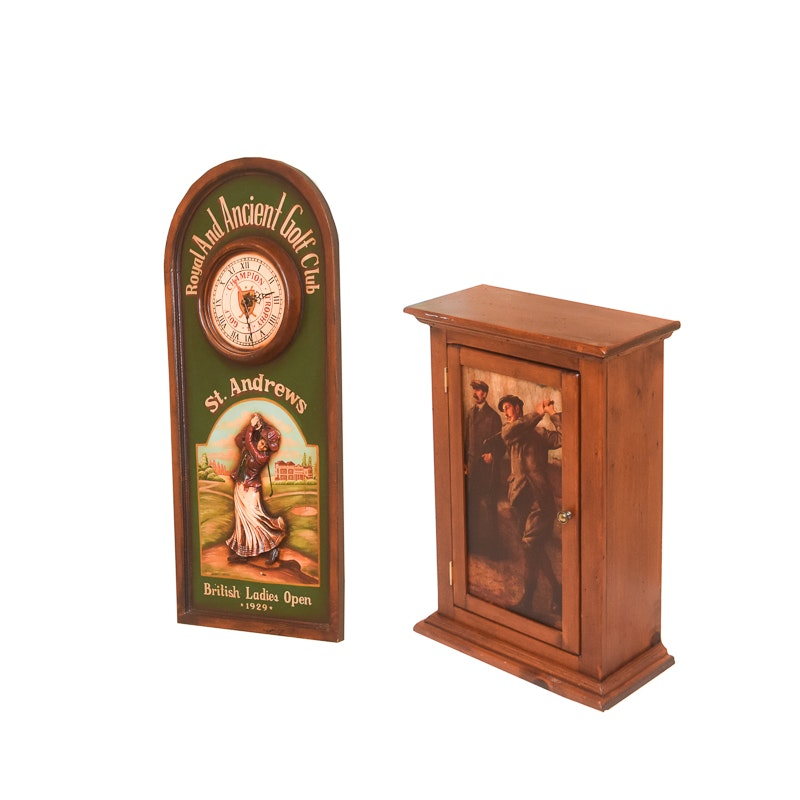 Golf Themed Wall Mount Cabinet and Wall Clock