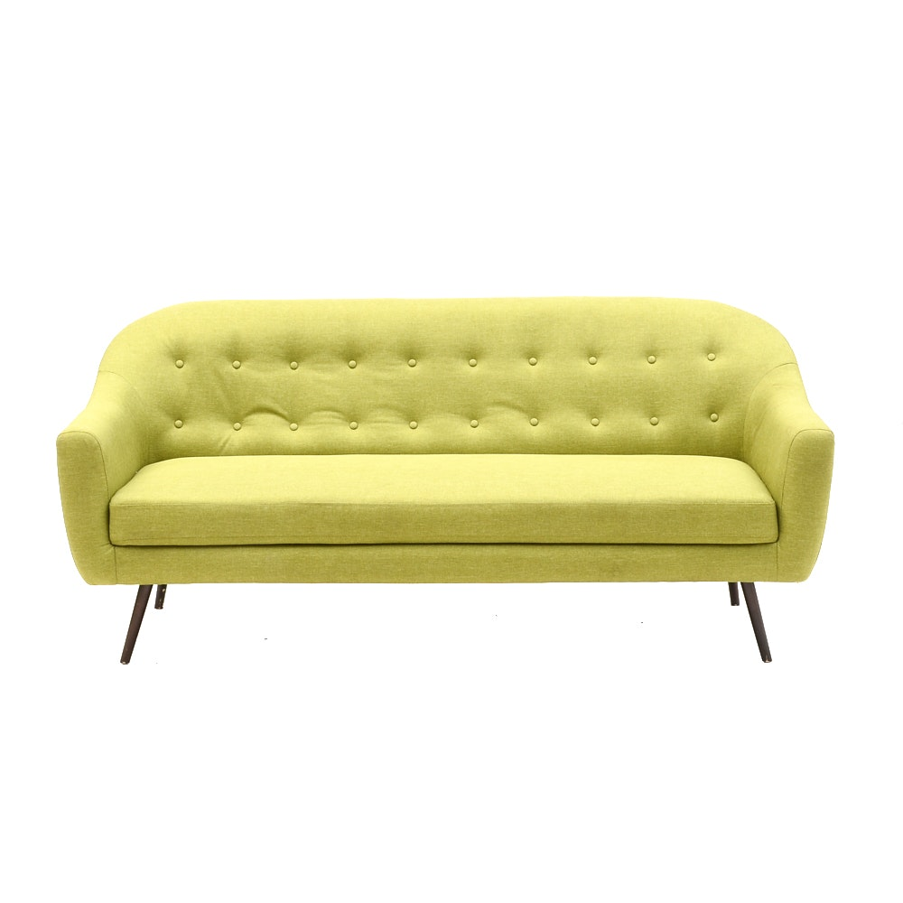 Mid Century Modern Style Green Button Tufted Sofa