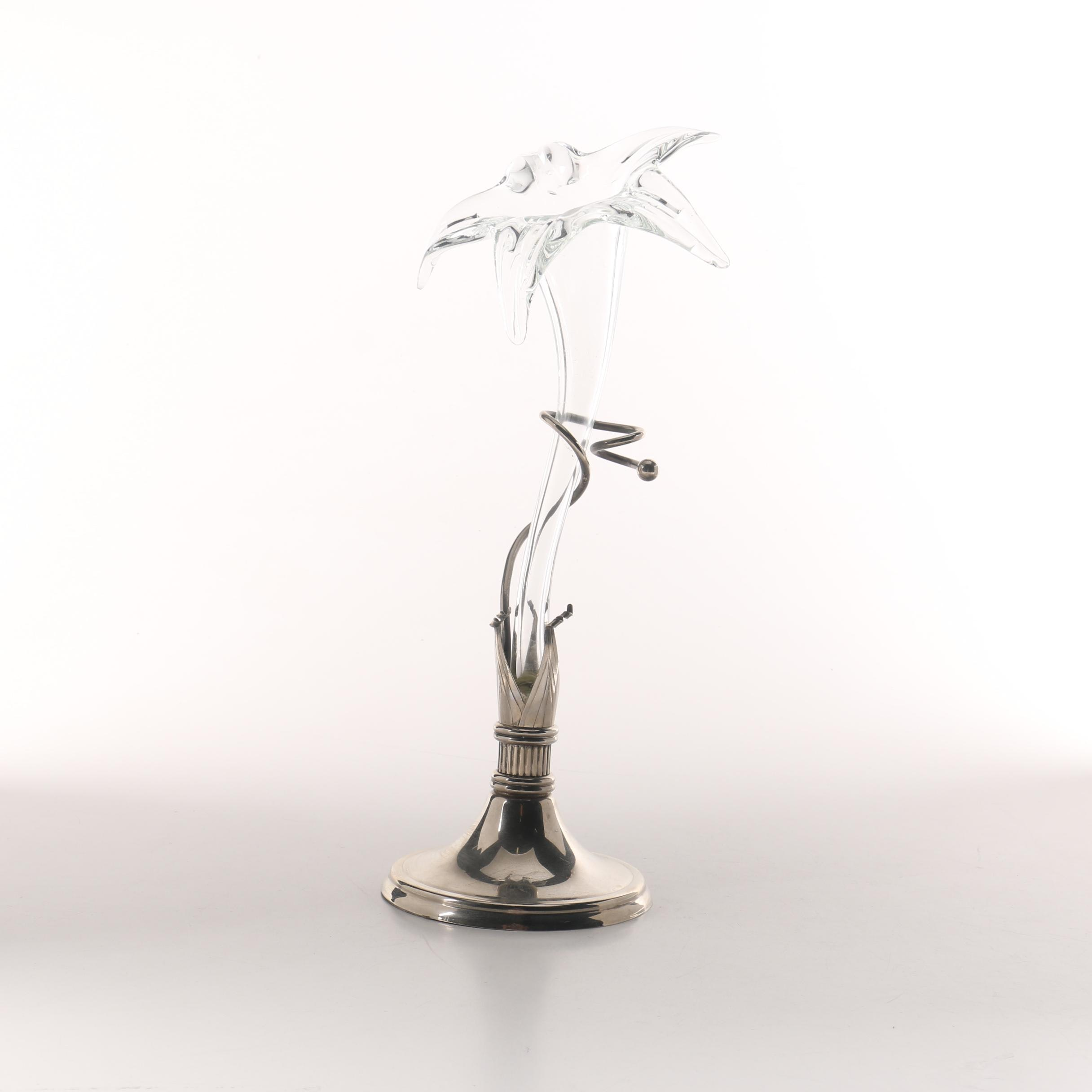 Art Deco Glass Flower and Stainless Steel Vase