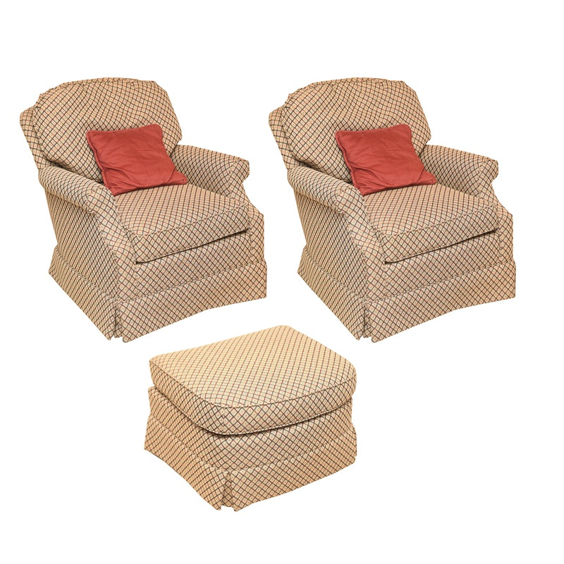 Pair of Upholstered Club Chairs with Ottoman by C.R. Laine