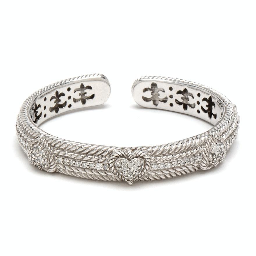 Judith Ripka Sterling Silver Heart Cuff Bracelet