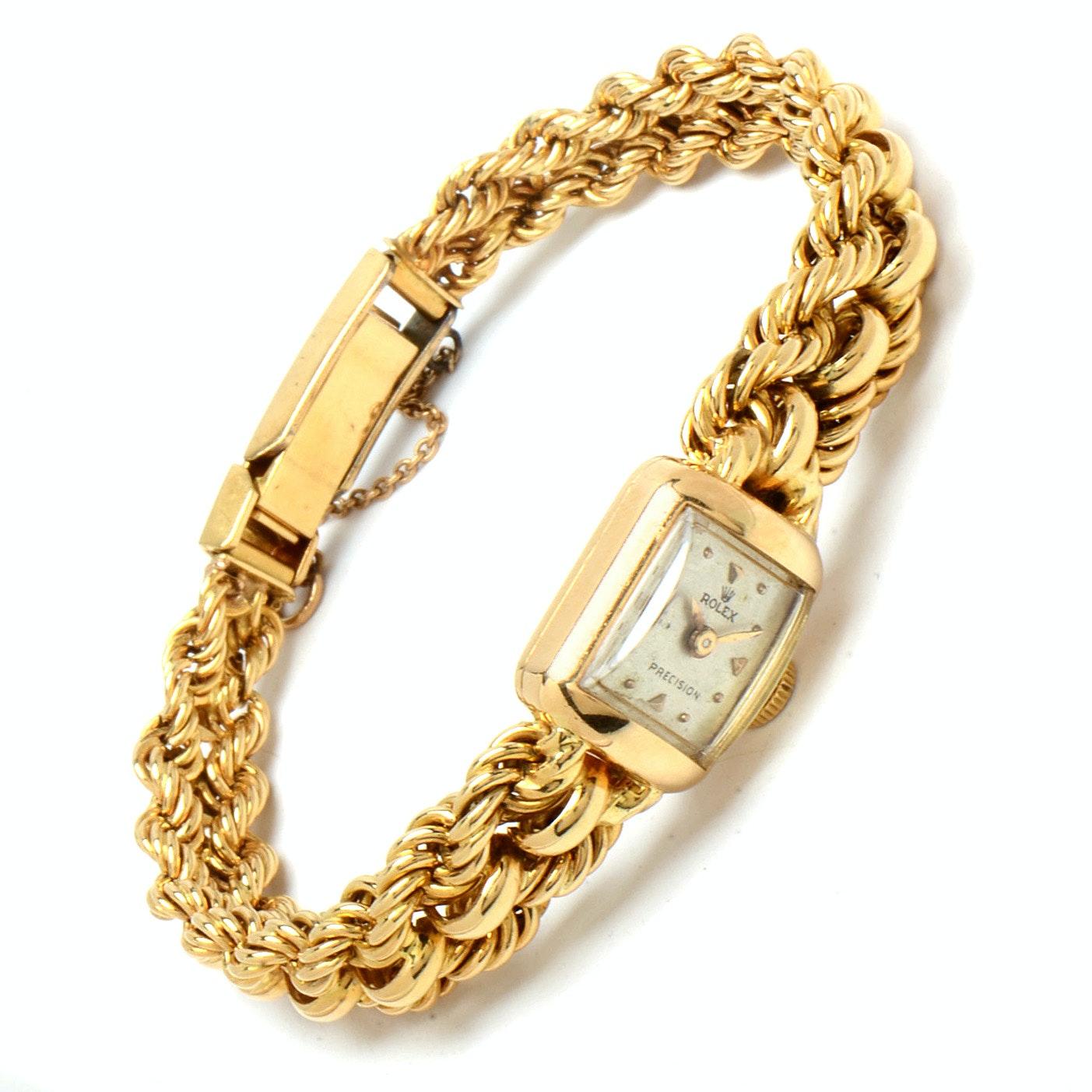 Vintage Rolex Precision 18K Yellow Gold Wristwatch